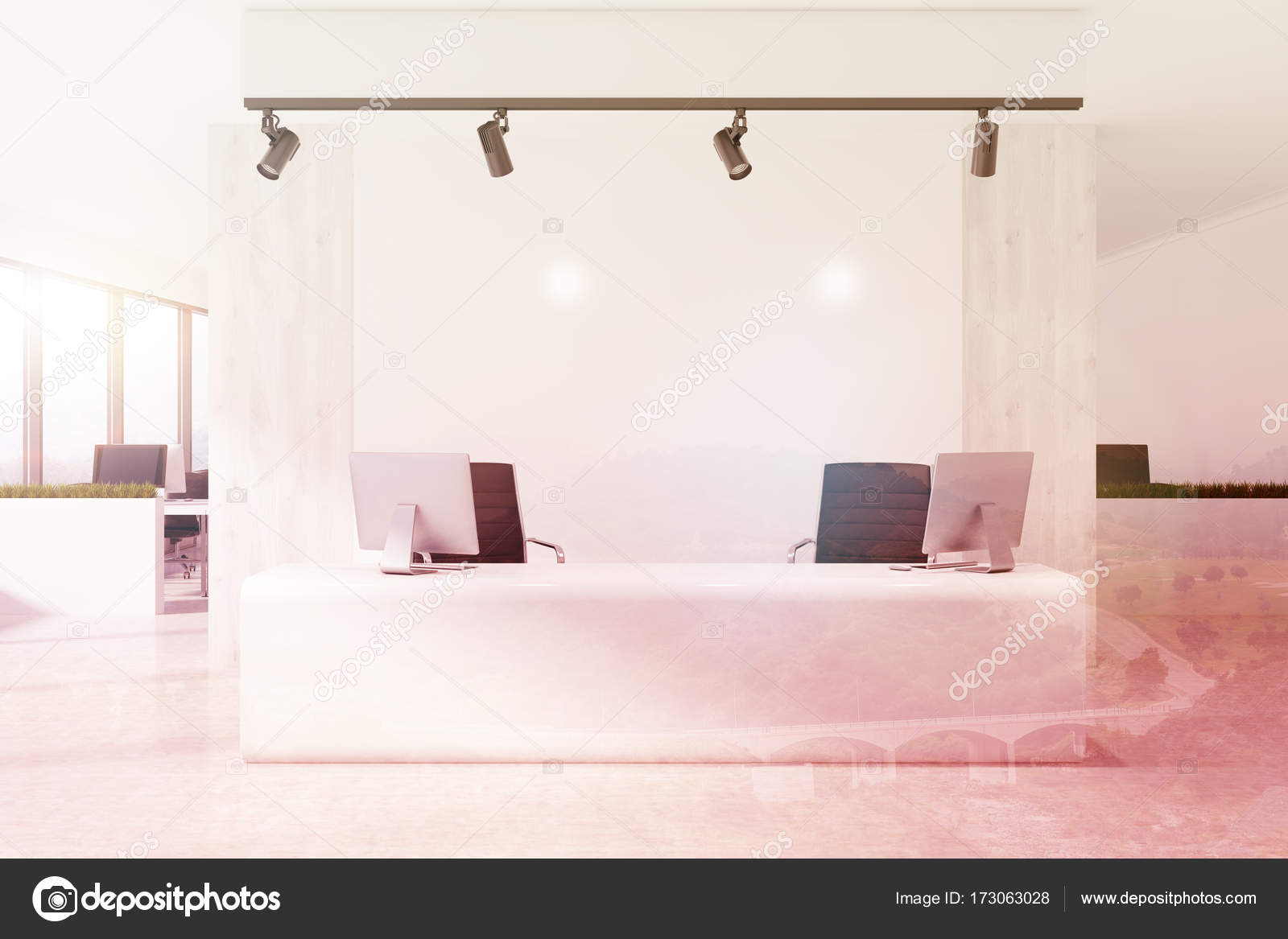 Scrivania Ufficio Doppia : Bianco reception scrivania in un ufficio bianco tonica u foto