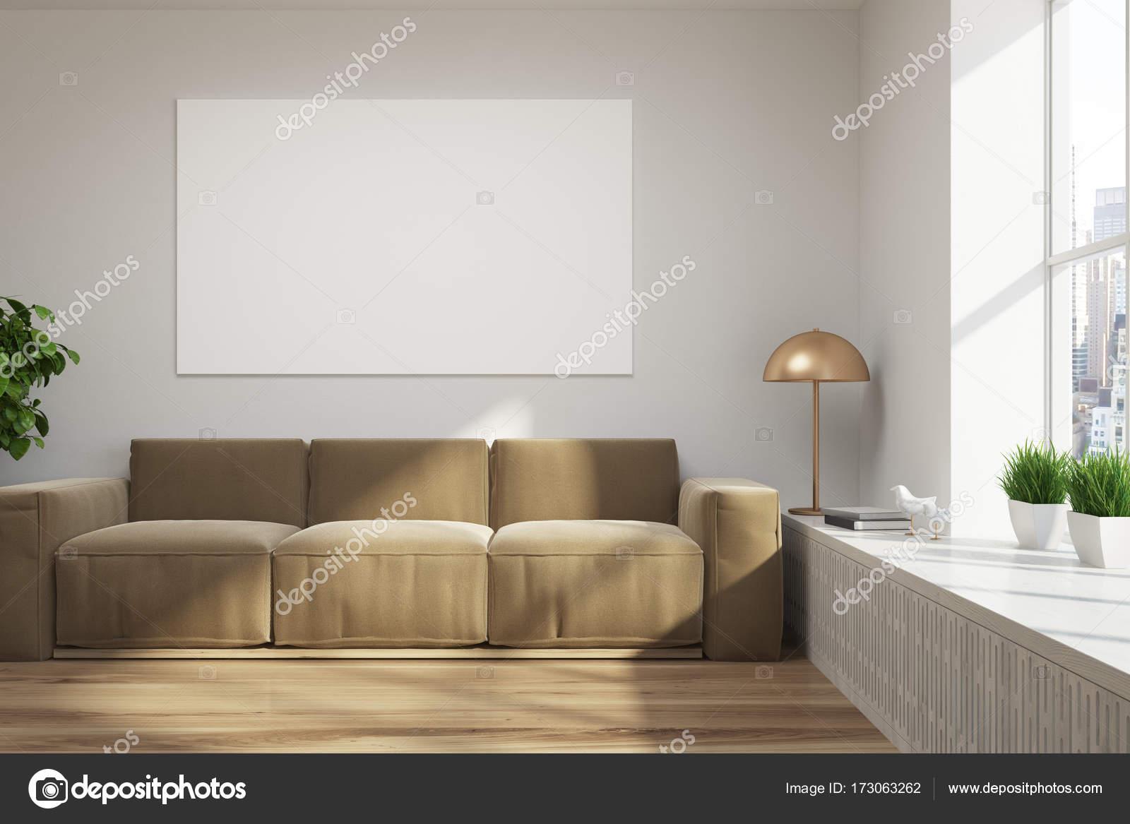 Witte loft woonkamer, bruin sofa, poster — Stockfoto ...