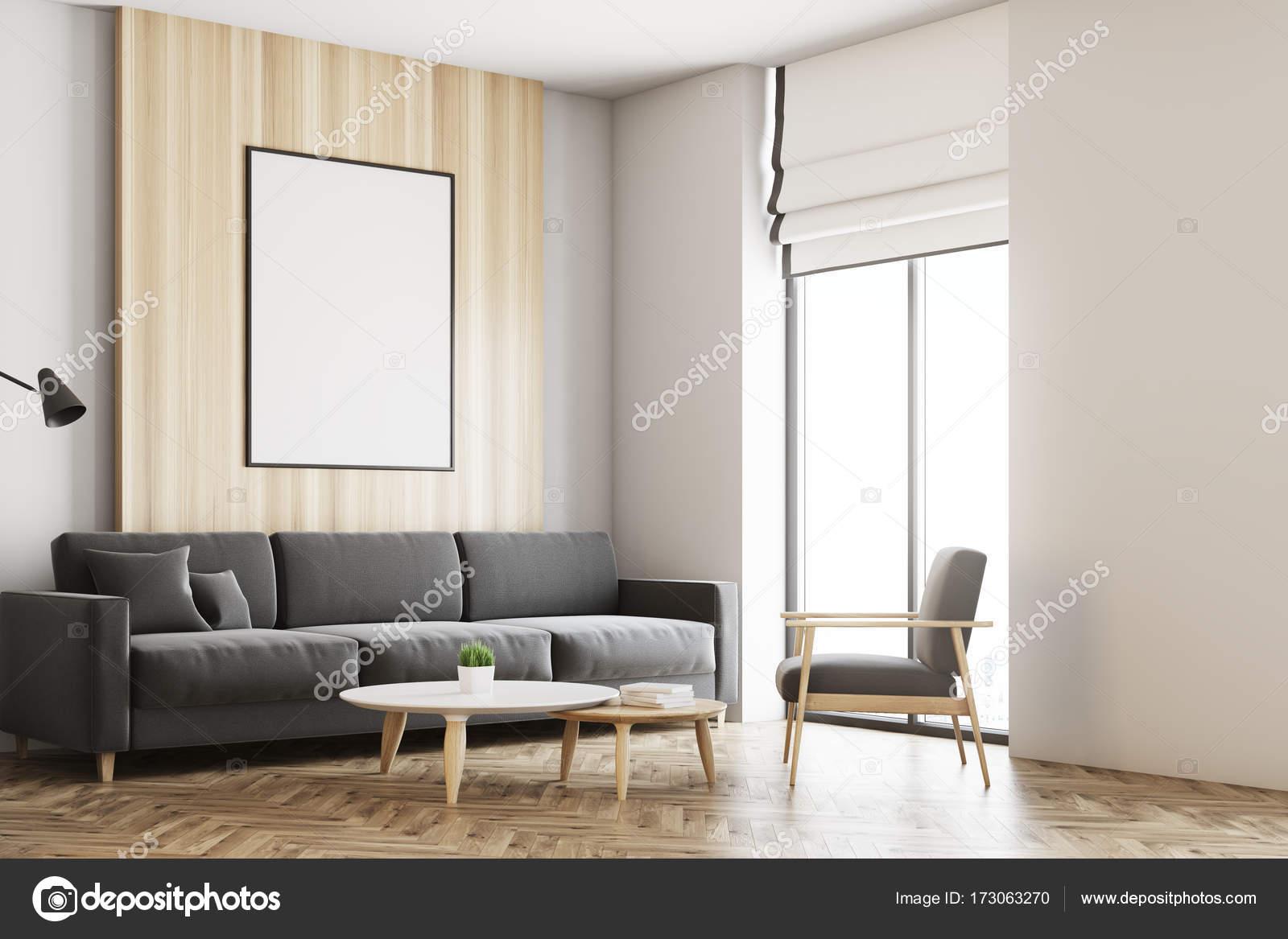 Salón loft blanco y madera, parte del cartel — Foto de stock ...