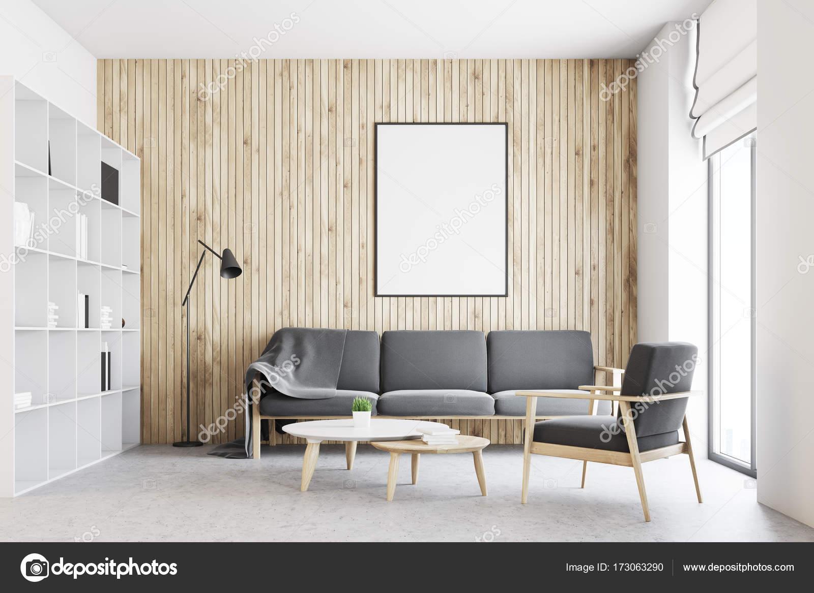 Cartel interior, sala de estar blanco y madera — Fotos de Stock ...