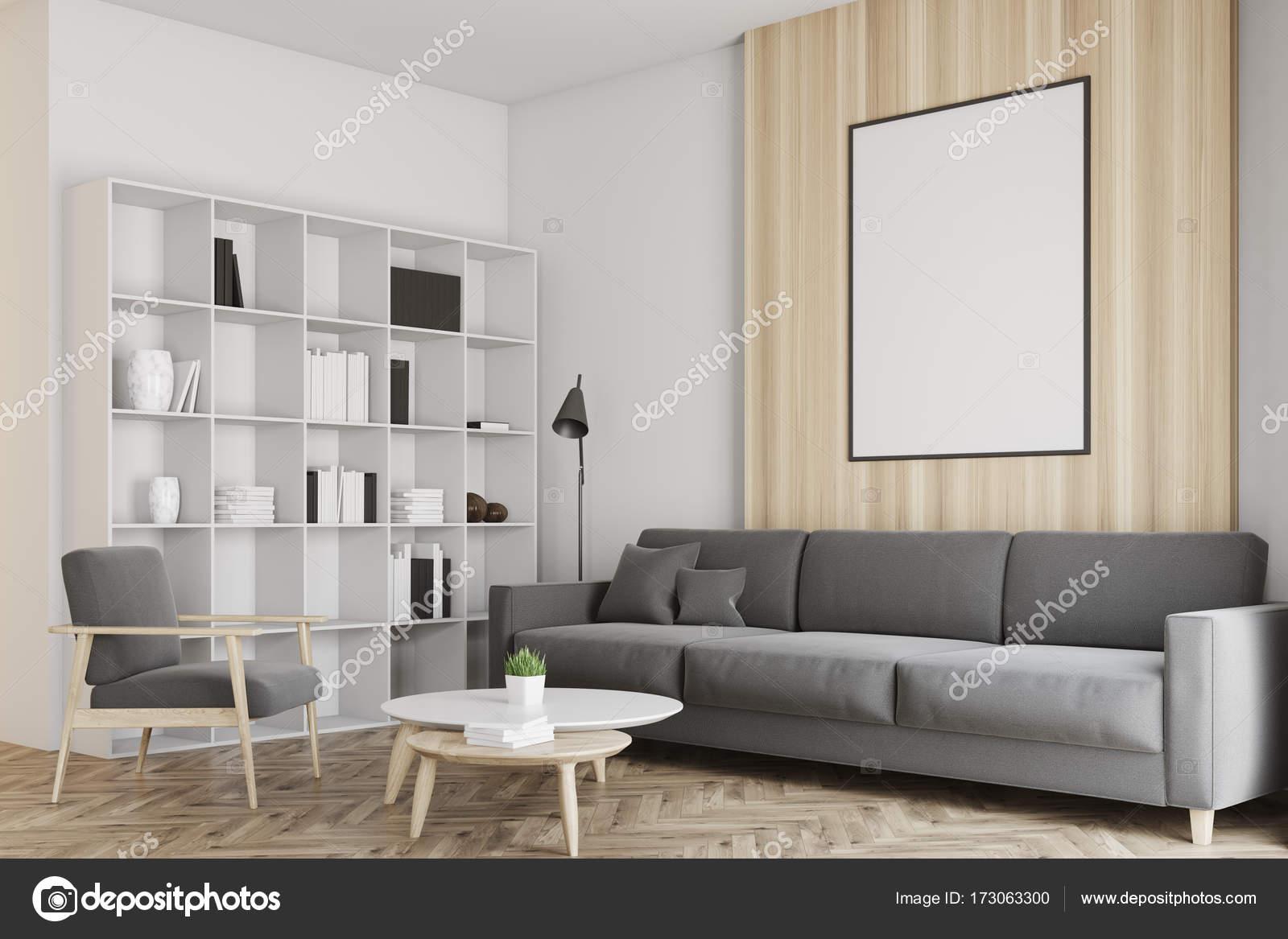 Esquina de la sala de estar blanco y madera, cartel — Foto de stock ...