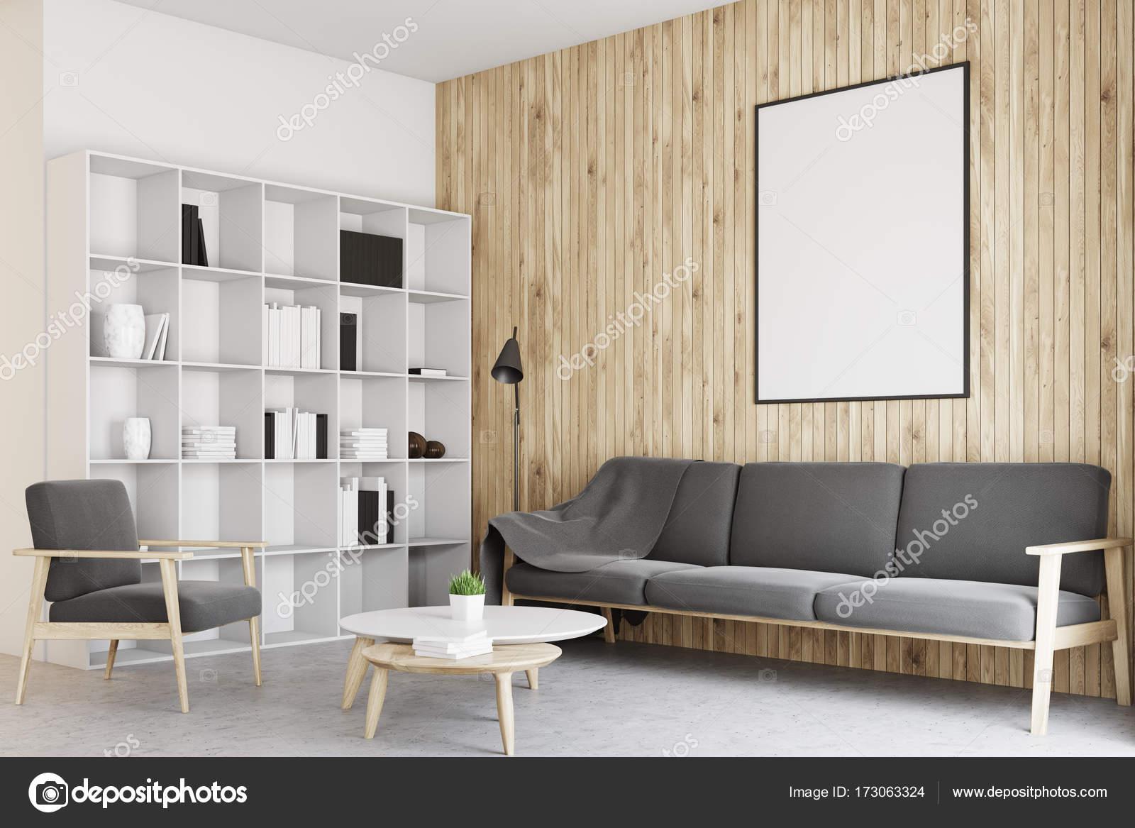 Salón blanco y madera, cartel concreto — Fotos de Stock ...