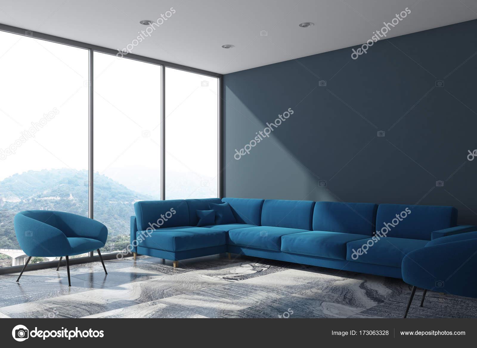 Blau grau Wohnzimmer Sofa, Loft-Seite — Stockfoto © denisismagilov ...