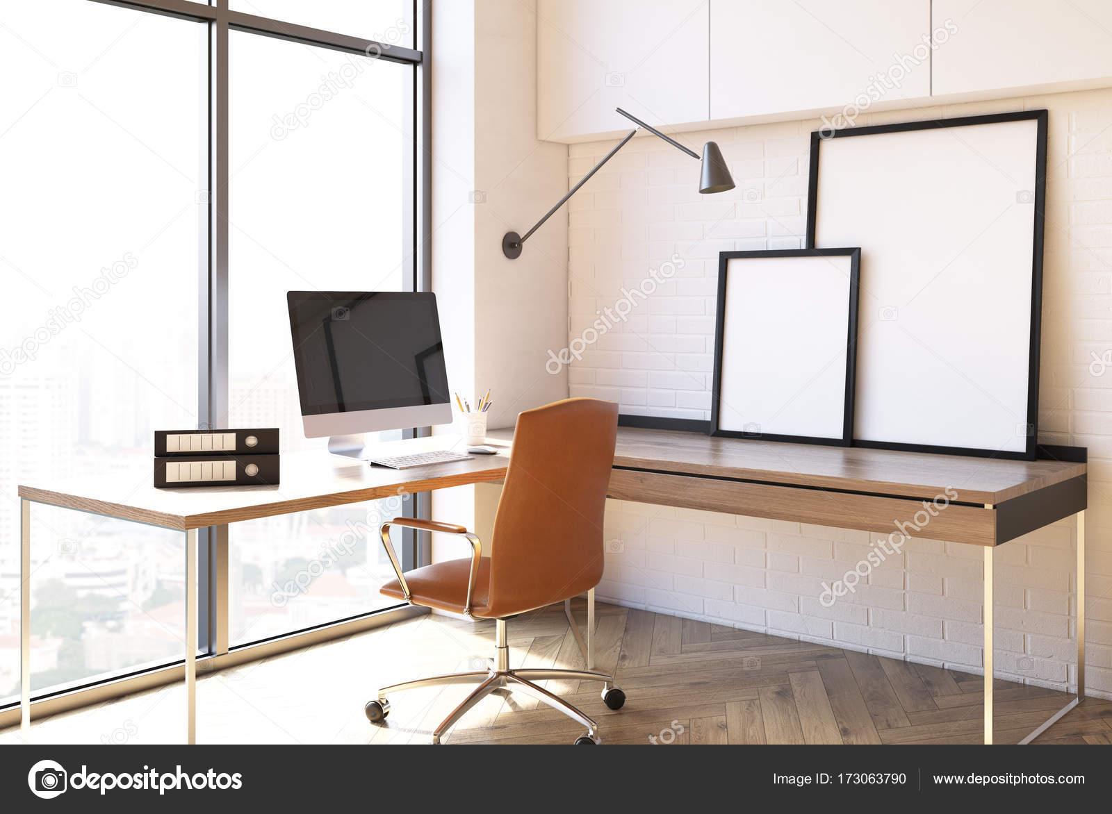 White home office interior, loft side — Stock Photo © denisismagilov ...