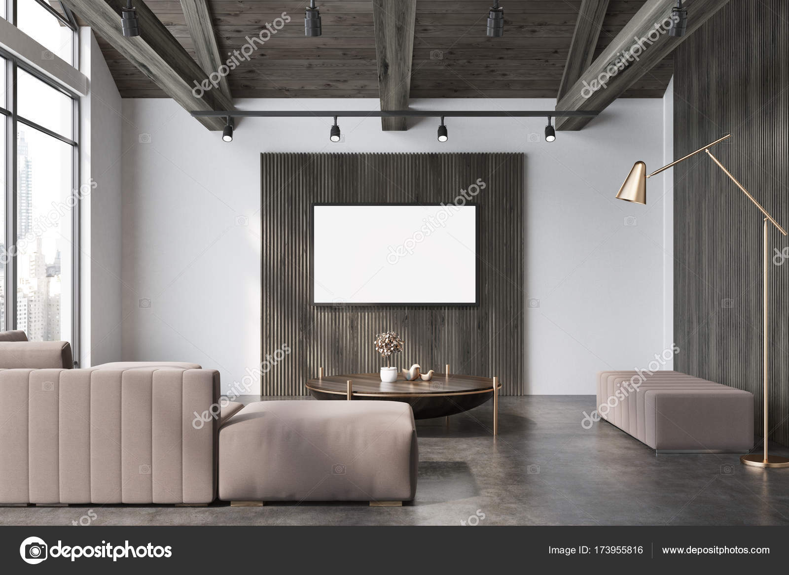 Uberlegen Weiß Und Holz Wohnzimmer, Beige Sofa Plakat U2014 Stockfoto