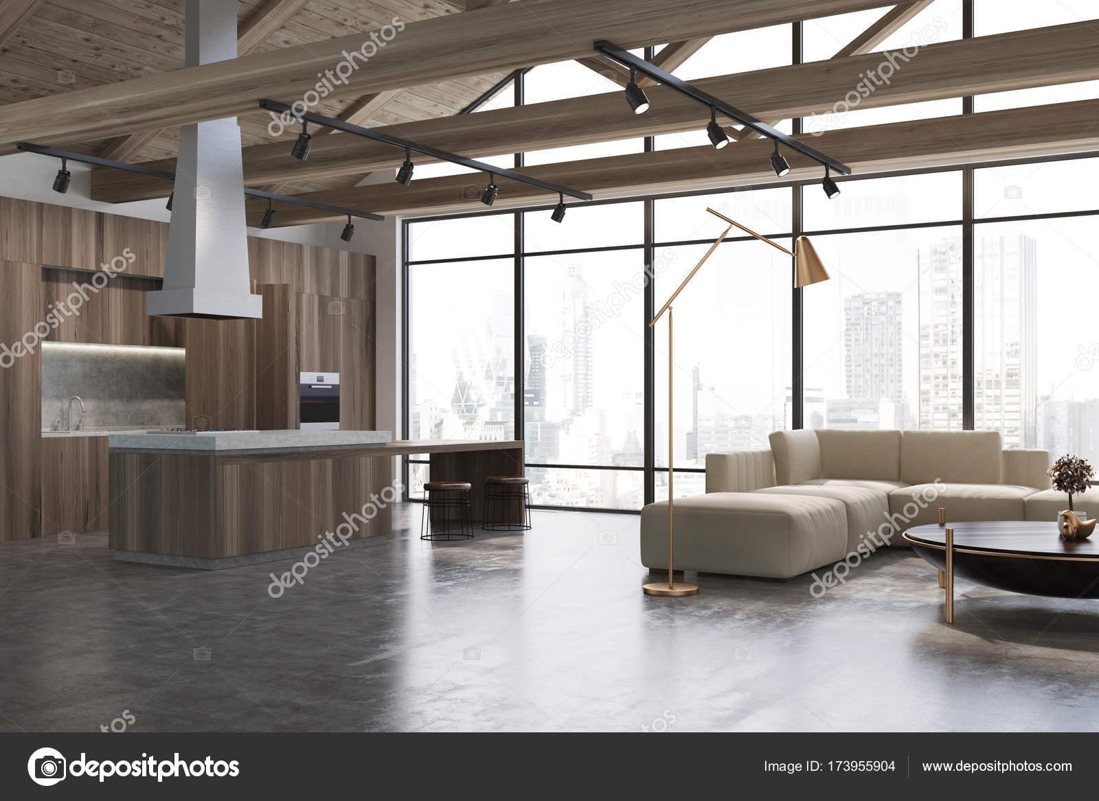 Weiß und Holz Wohnzimmer, weißes sofa — Stockfoto ...