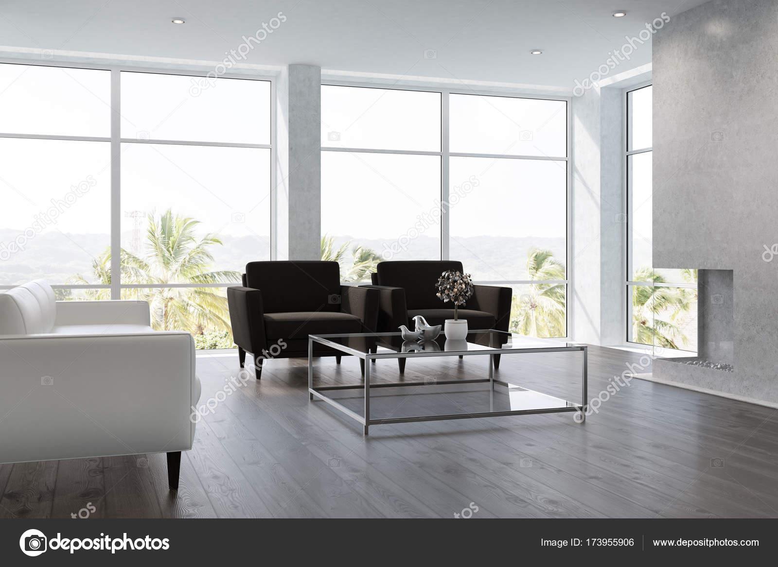 Wit woonkamer interieur zwart fauteuils u stockfoto