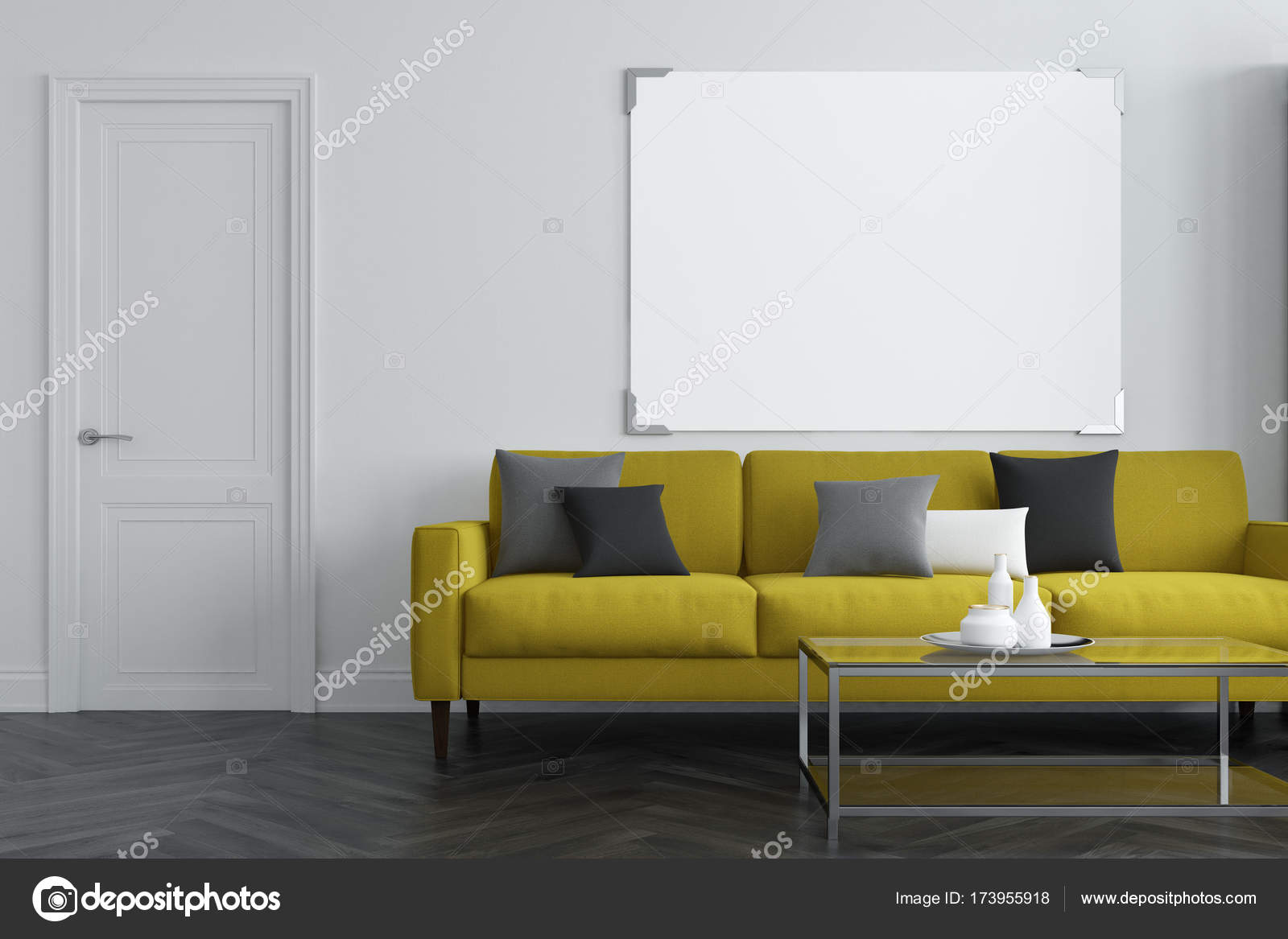 Divano salotto bianco giallo foto stock Salotto bianco