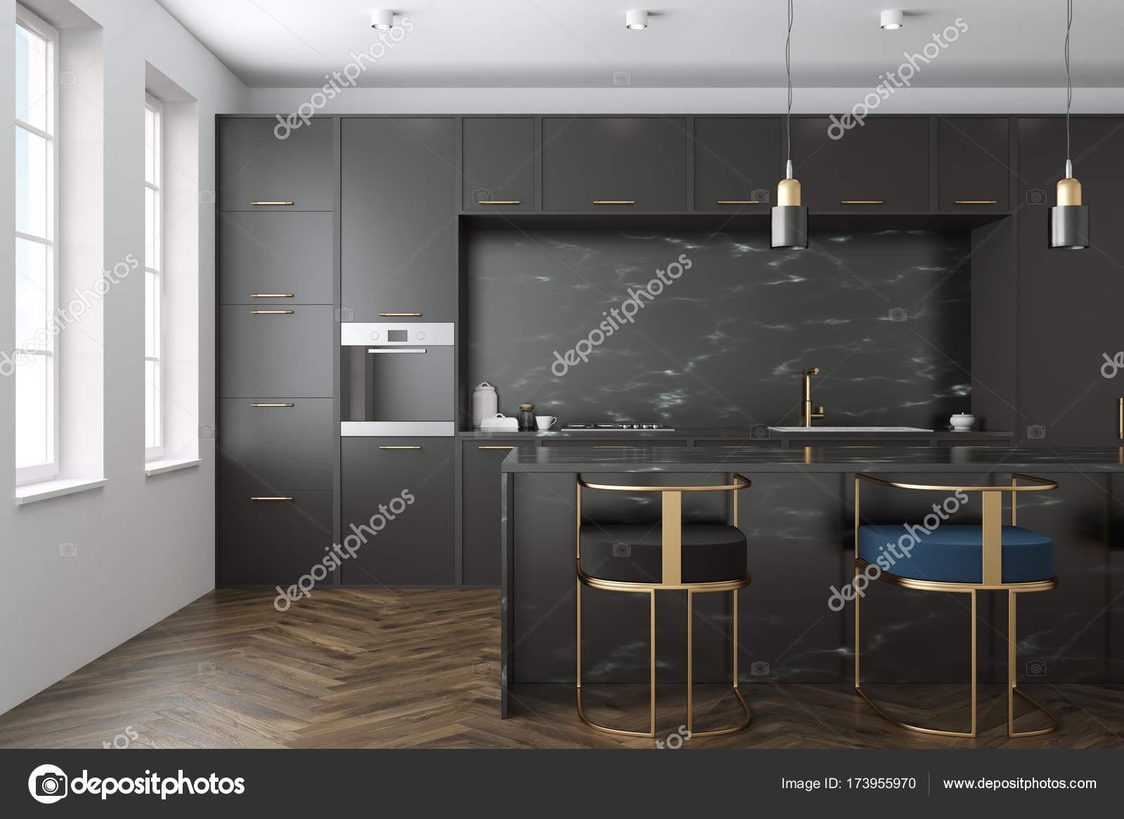 Schwarzer Marmor Kuche Interieur Stockfoto C Denisismagilov 173955970