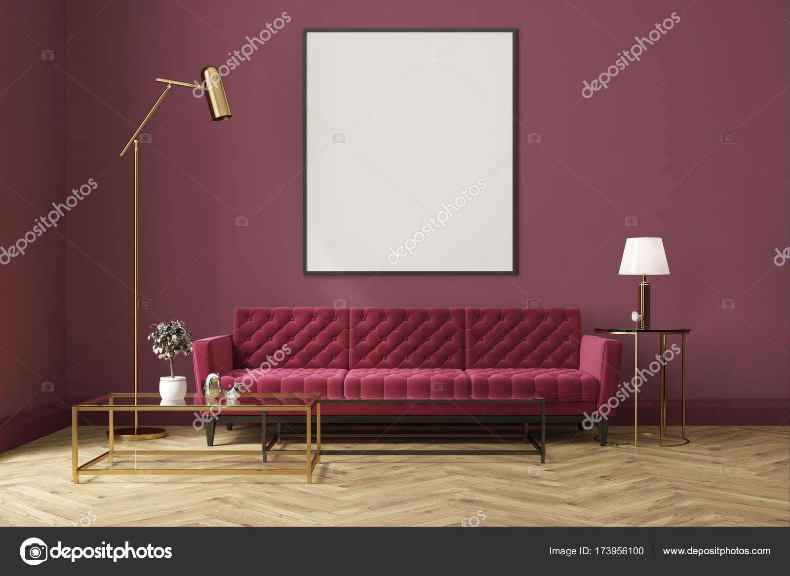 Lila Wohnzimmer, lila wohnzimmer, rotes sofa, poster — stockfoto © denisismagilov, Design ideen