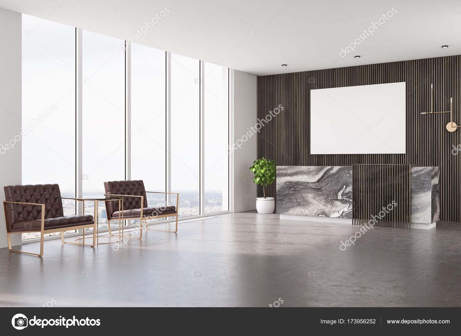 Dark Wooden Office Interior With Loft Windows, A Concrete Floor, Two Brown  Armchairs And A Marble And Wooden Reception Table With A Poster Above It.