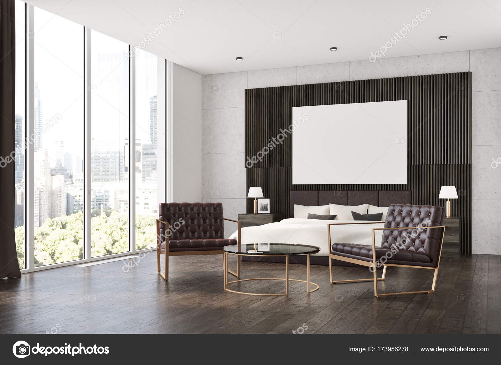 Dunkles Holz Schlafzimmer, Plakat-Seite — Stockfoto © denisismagilov ...