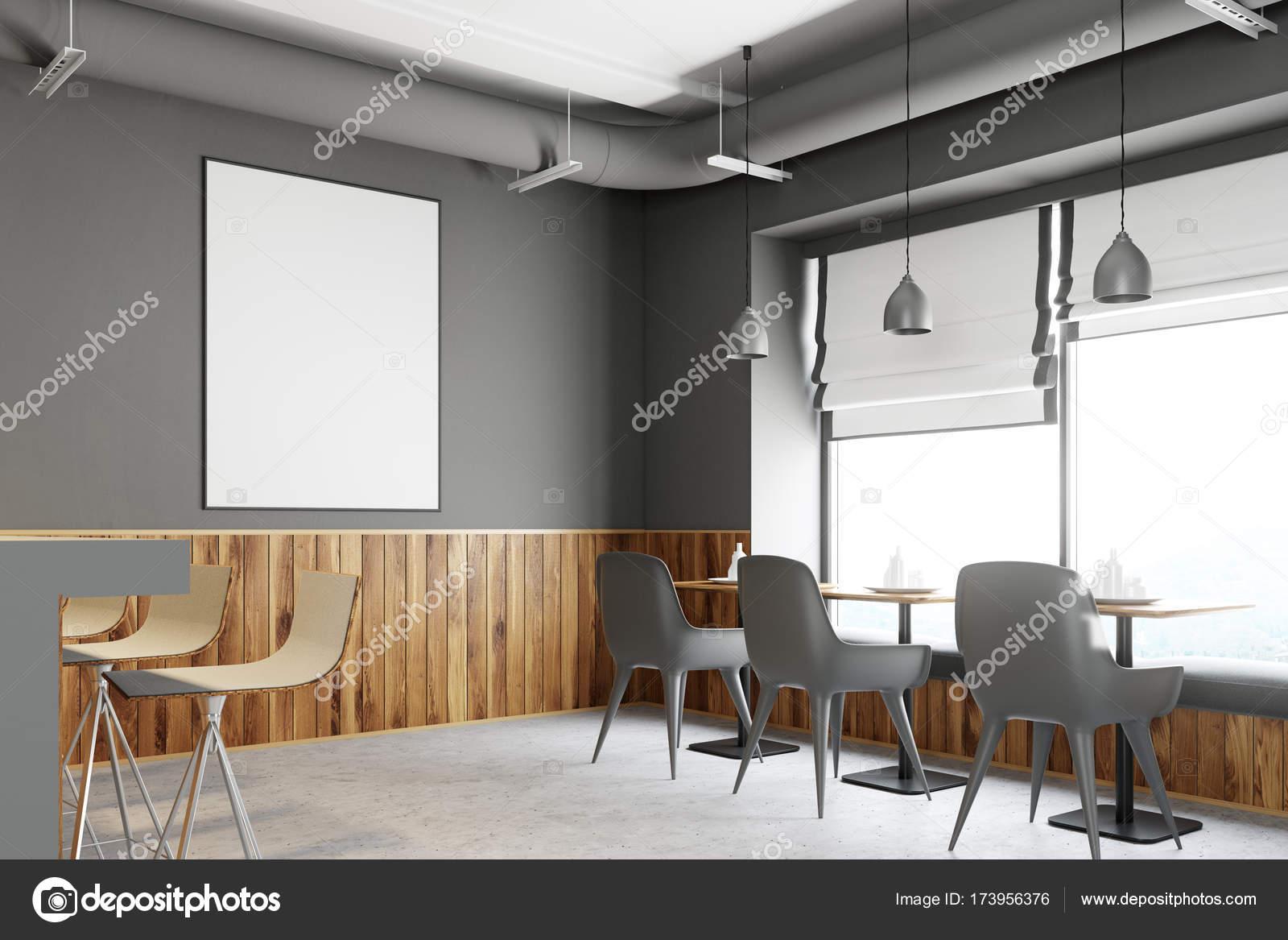 Grauer Balken aus Holz stehen, Plakat-Seite — Stockfoto ...