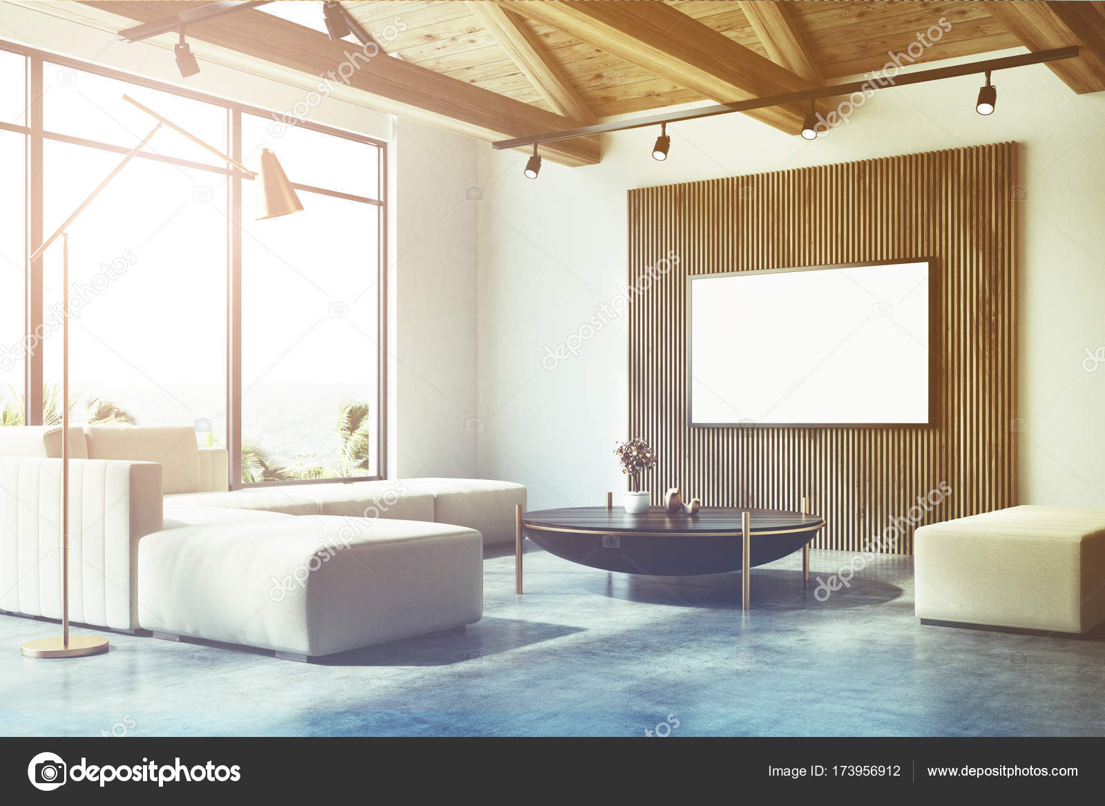 White and wooden living room corner, poster toned — Stock Photo ...
