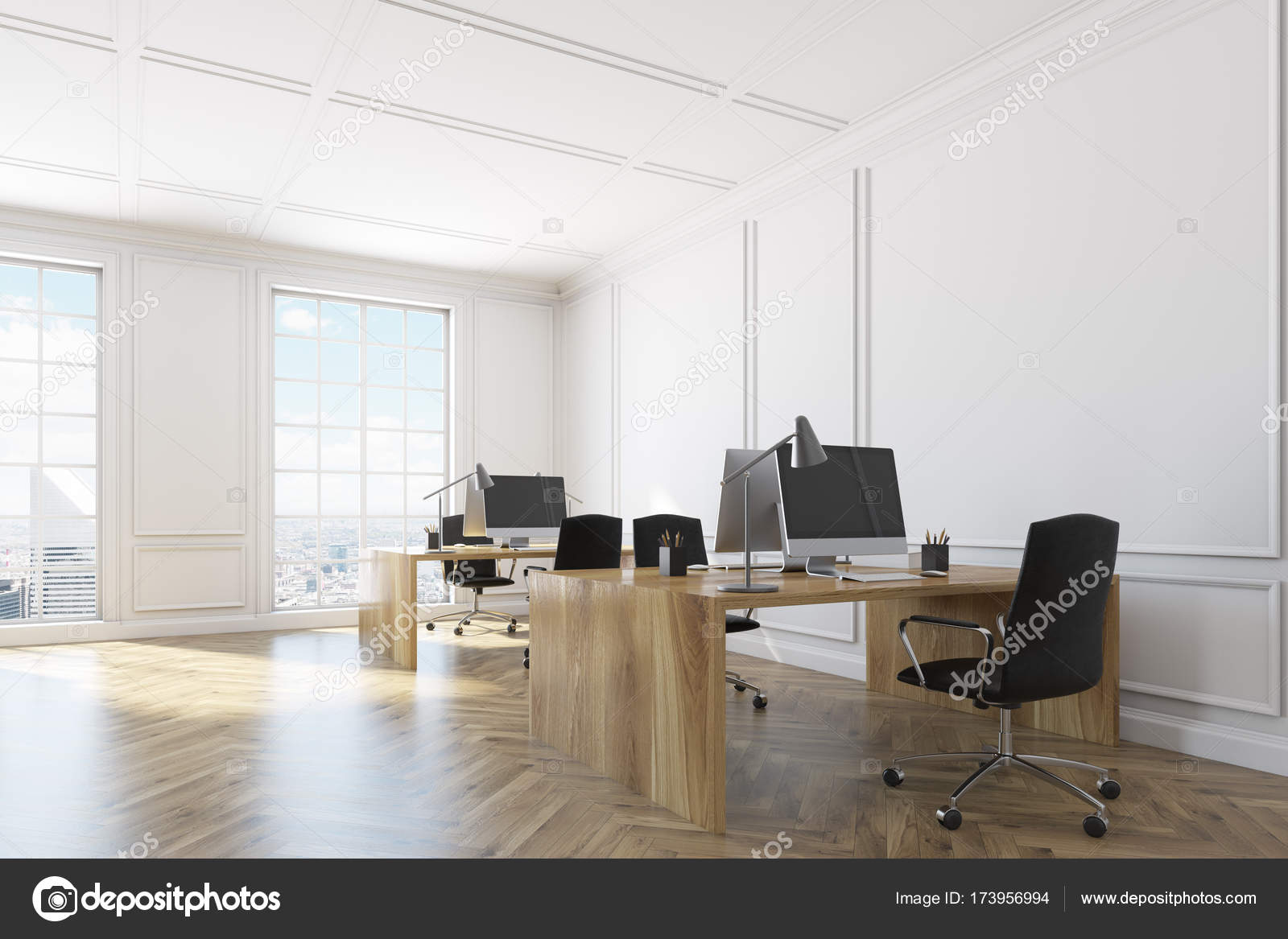 Blanc le coin intérieur de bureau open space u2014 photographie