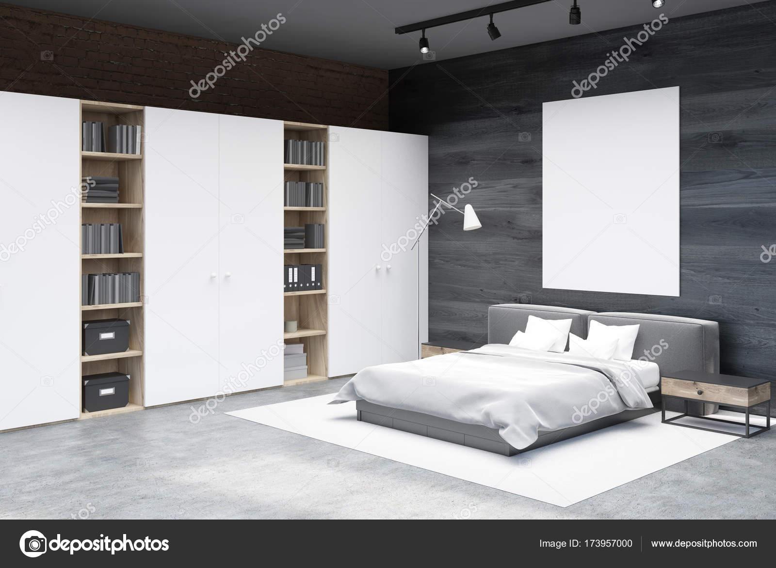 Angolo camera da letto grigio e mattoni, poster — Foto Stock ...