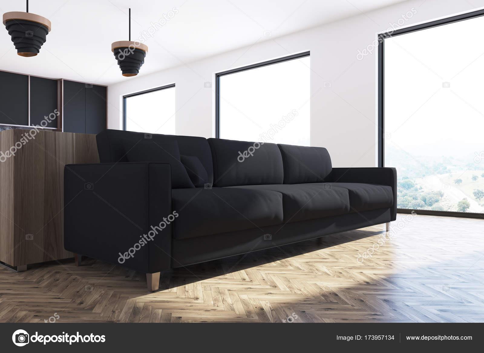 Woonkamer Zwarte Bank : Wit woonkamer met zwarte bank u stockfoto denisismagilov