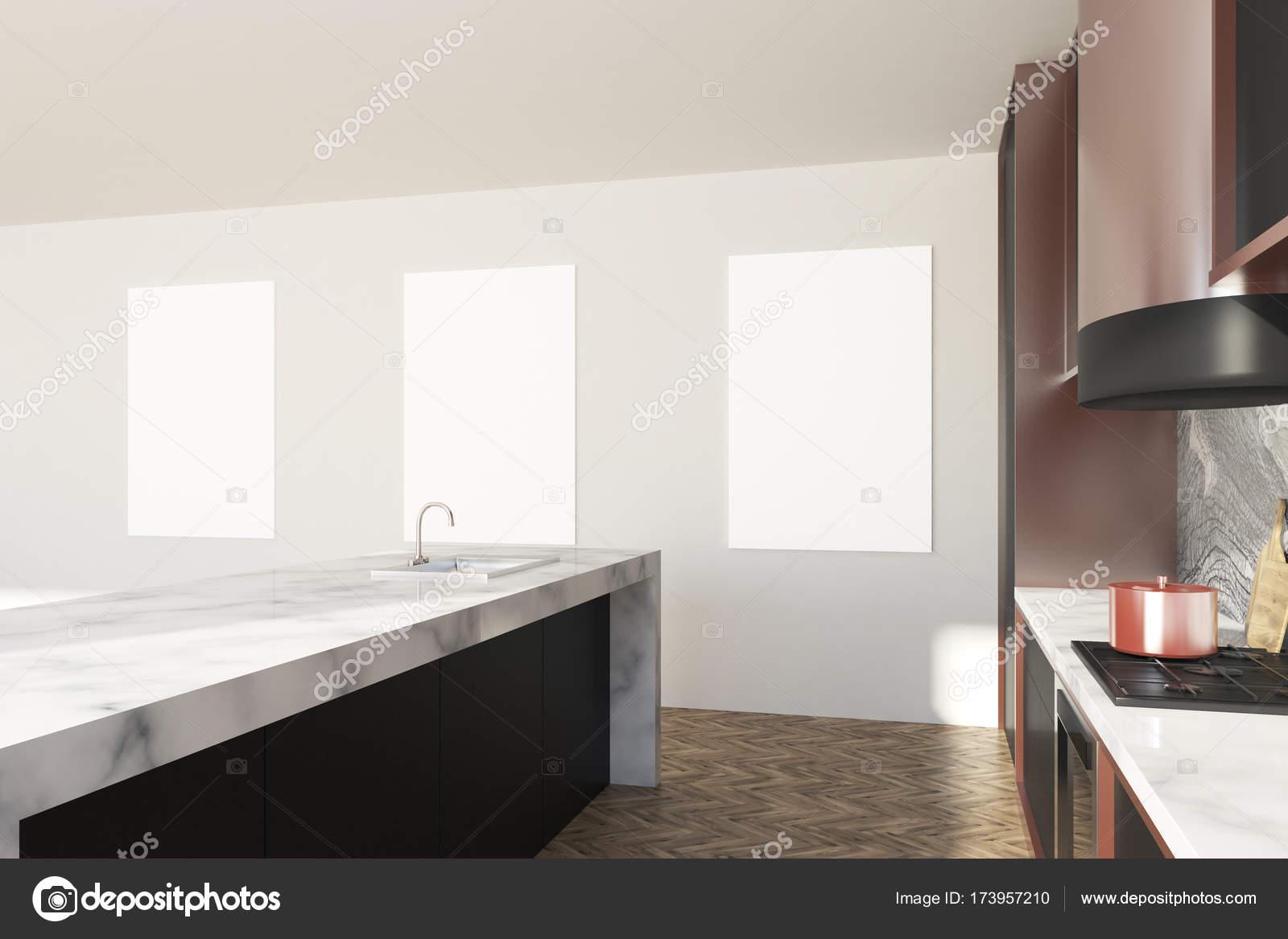 Weiß Und Marmor Küchenarbeitsplatte Plakate Stockfoto