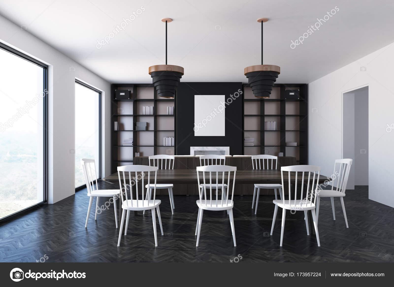 Sala Da Pranzo Camera Interni Sedie Bianche E Un Poster Foto