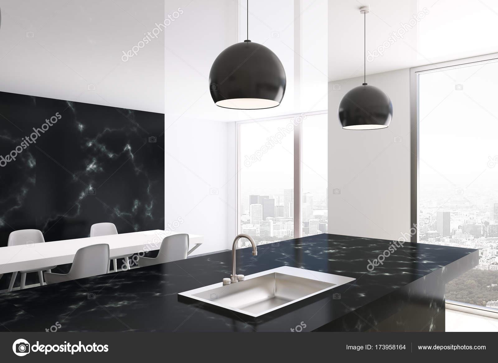 Po Stronie Kuchnia Marmur Biały I Czarny Zdjęcie Stockowe