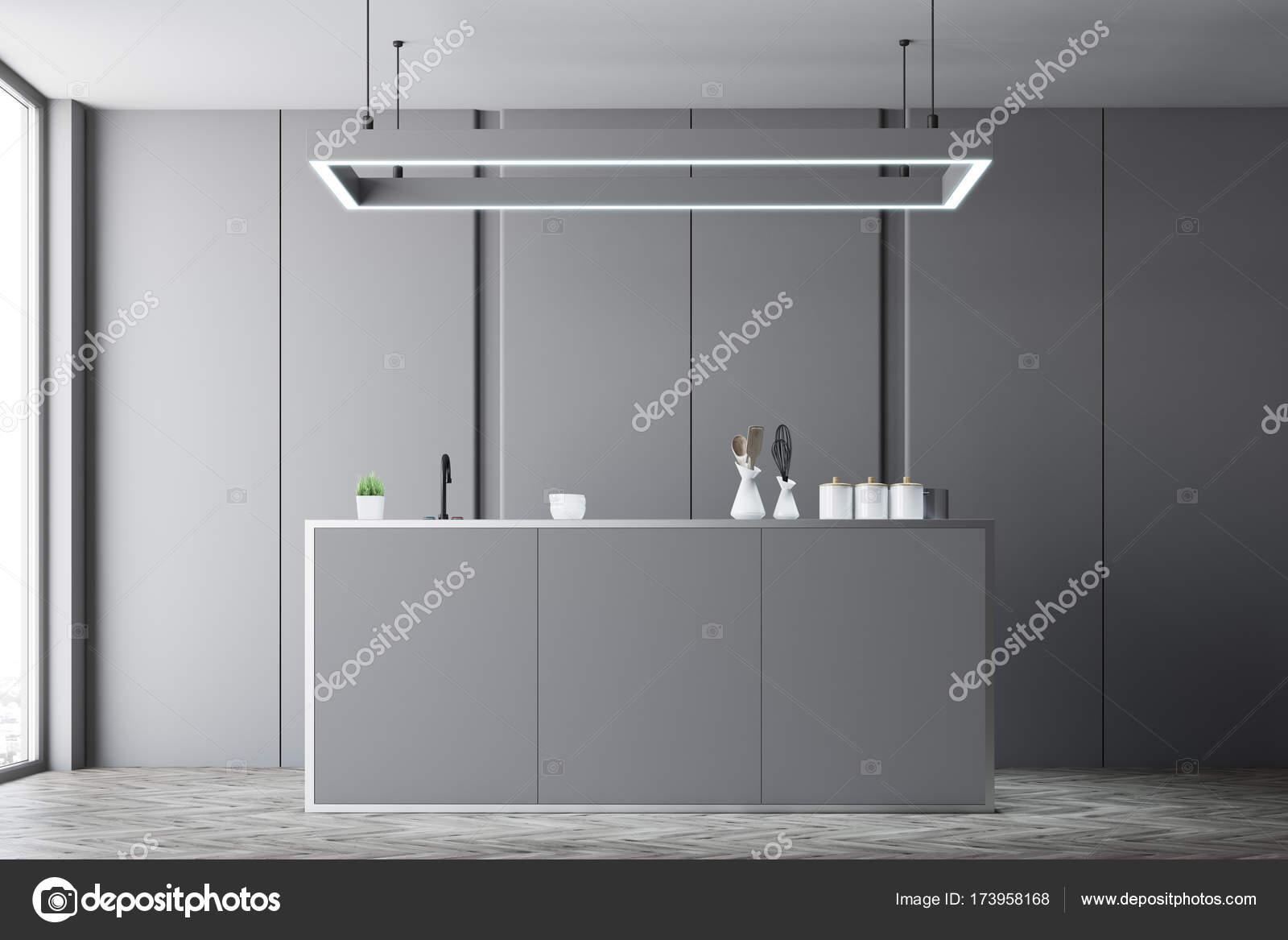 Interni controsoffitto della cucina grigio foto stock denisismagilov 173958168 - Ripiani interni cucina ...