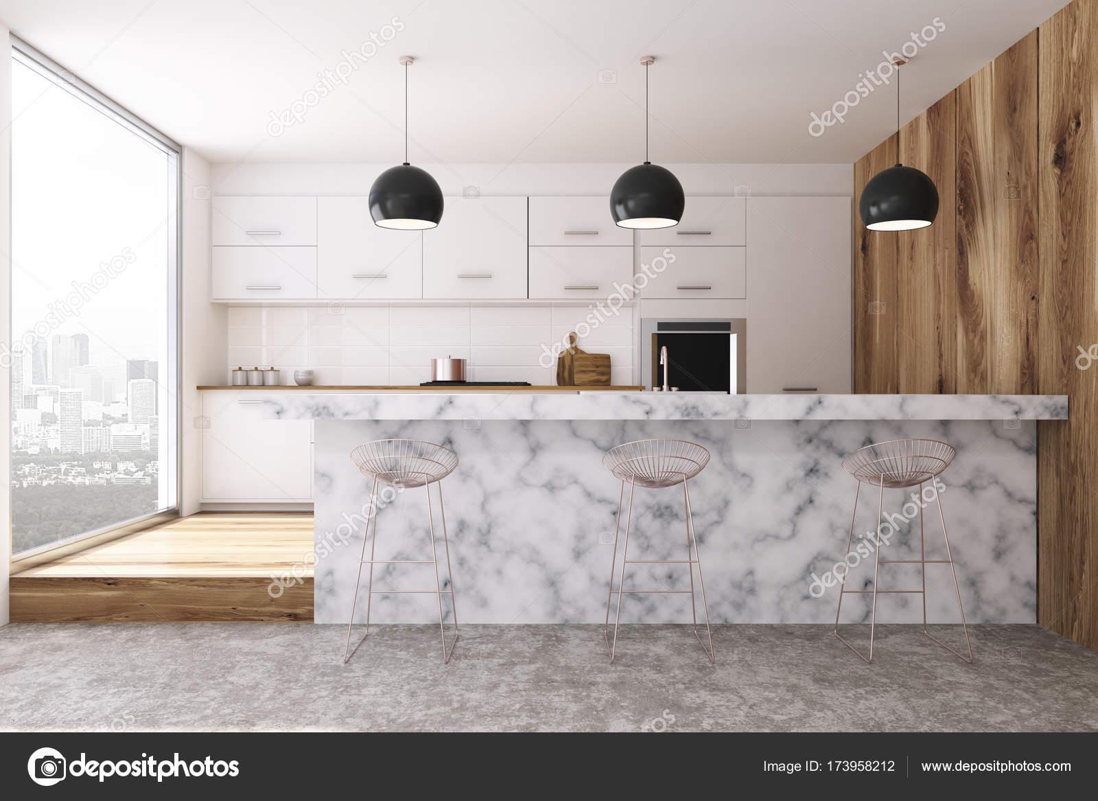 Biała Kuchnia Bar Marmur Stojak Zdjęcie Stockowe