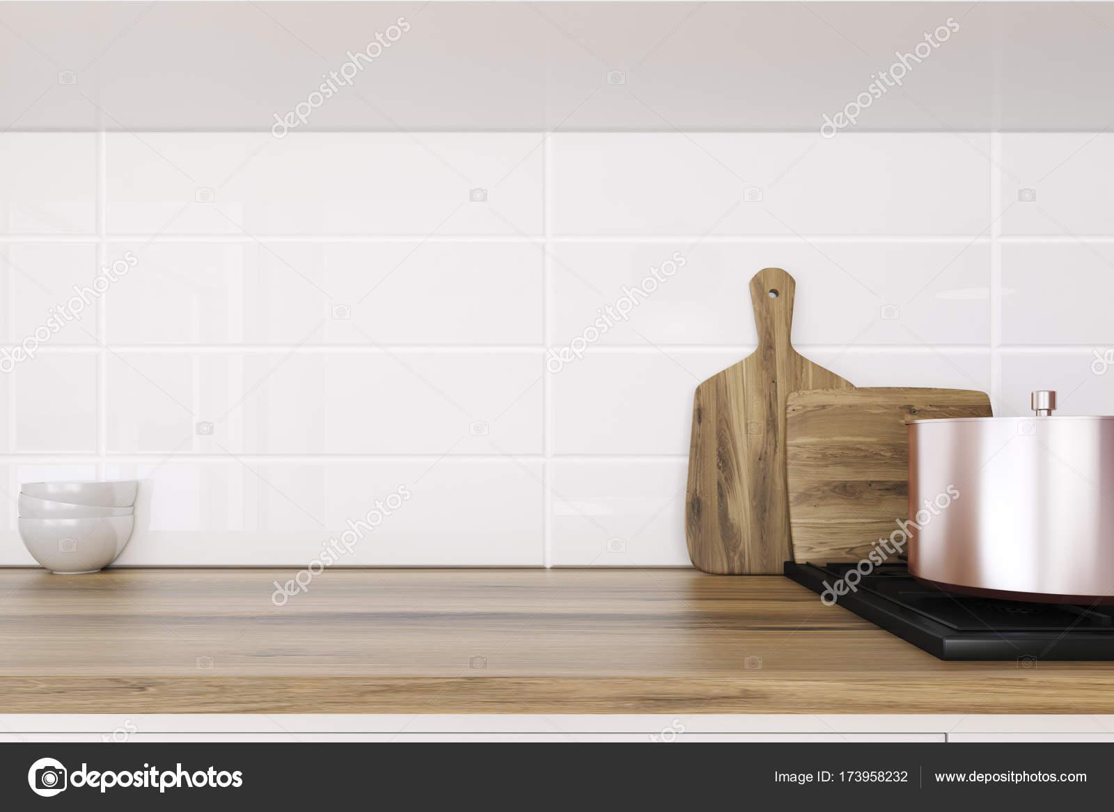 Encimera de cocina de madera de cerca — Foto de stock ...