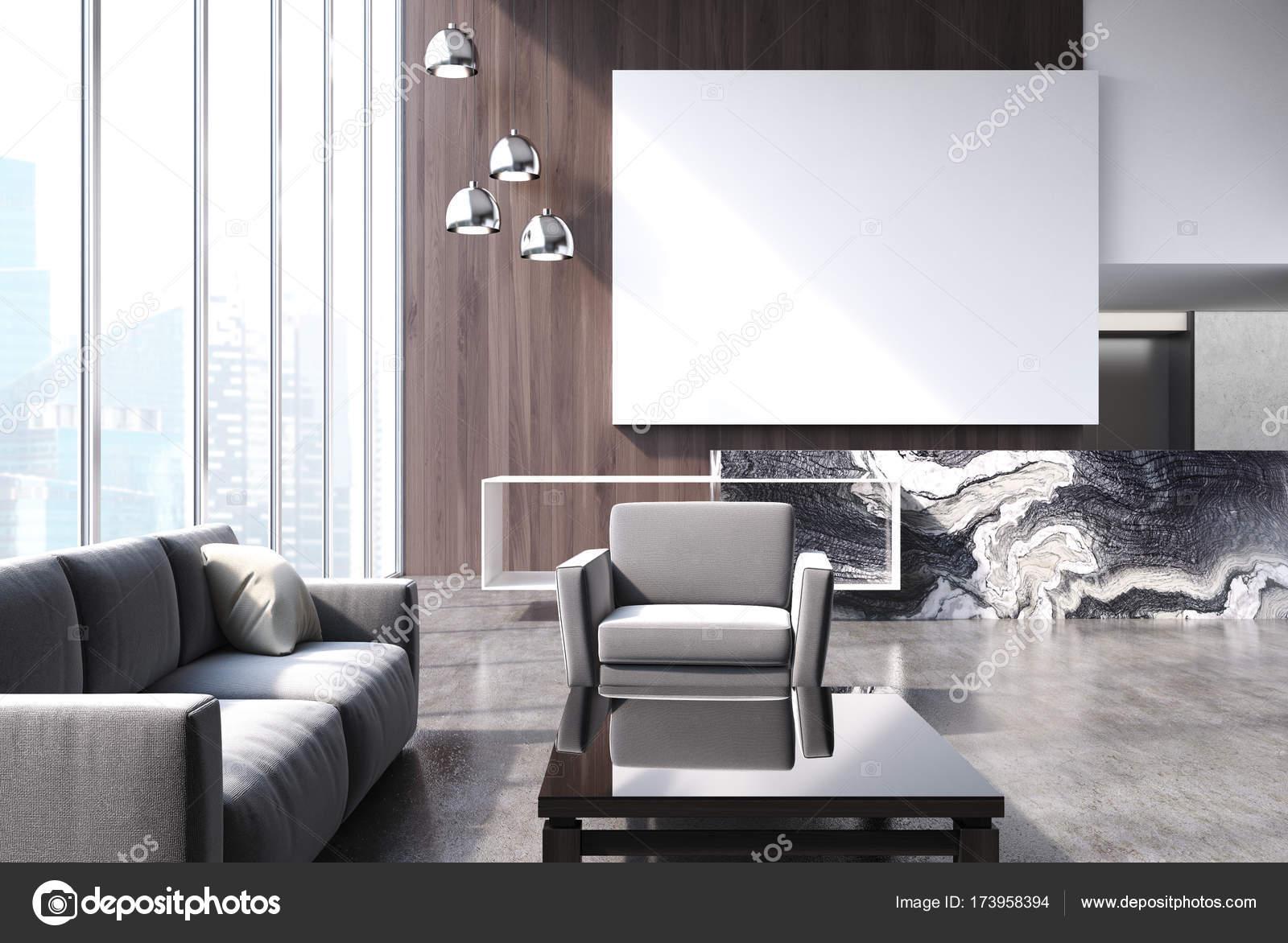 Modernes wohnzimmer mit poster u stockfoto denisismagilov