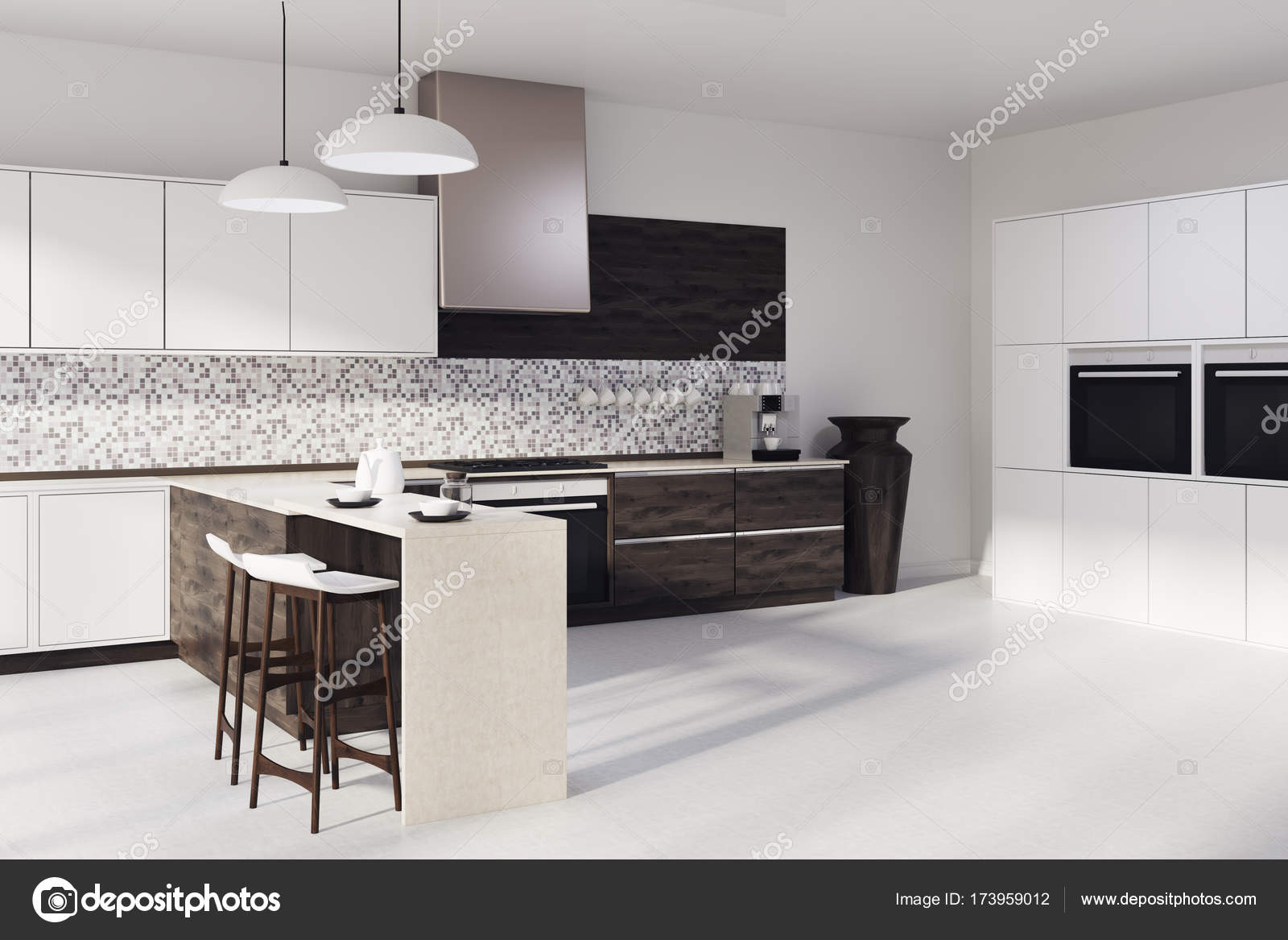 Mosaik Küche, dunklen Holz Arbeitsplatten Seite — Stockfoto ...
