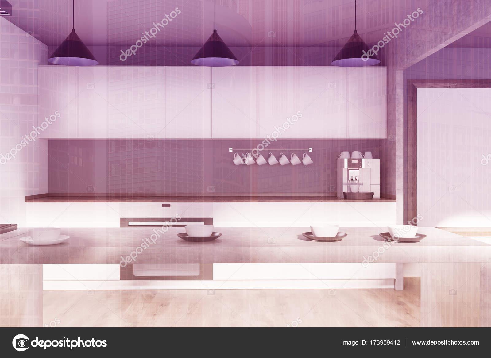 Cucina bianca e grigia, tabella tonica — Foto Stock © denisismagilov ...