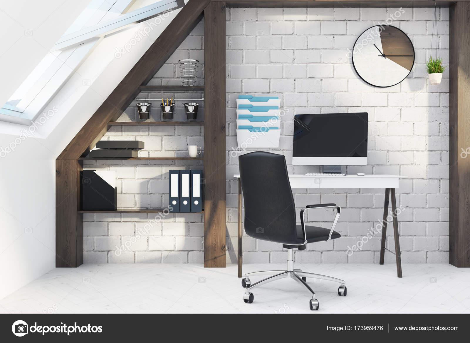 Intérieur de bureau à la maison blanche et en bois se bouchent photo