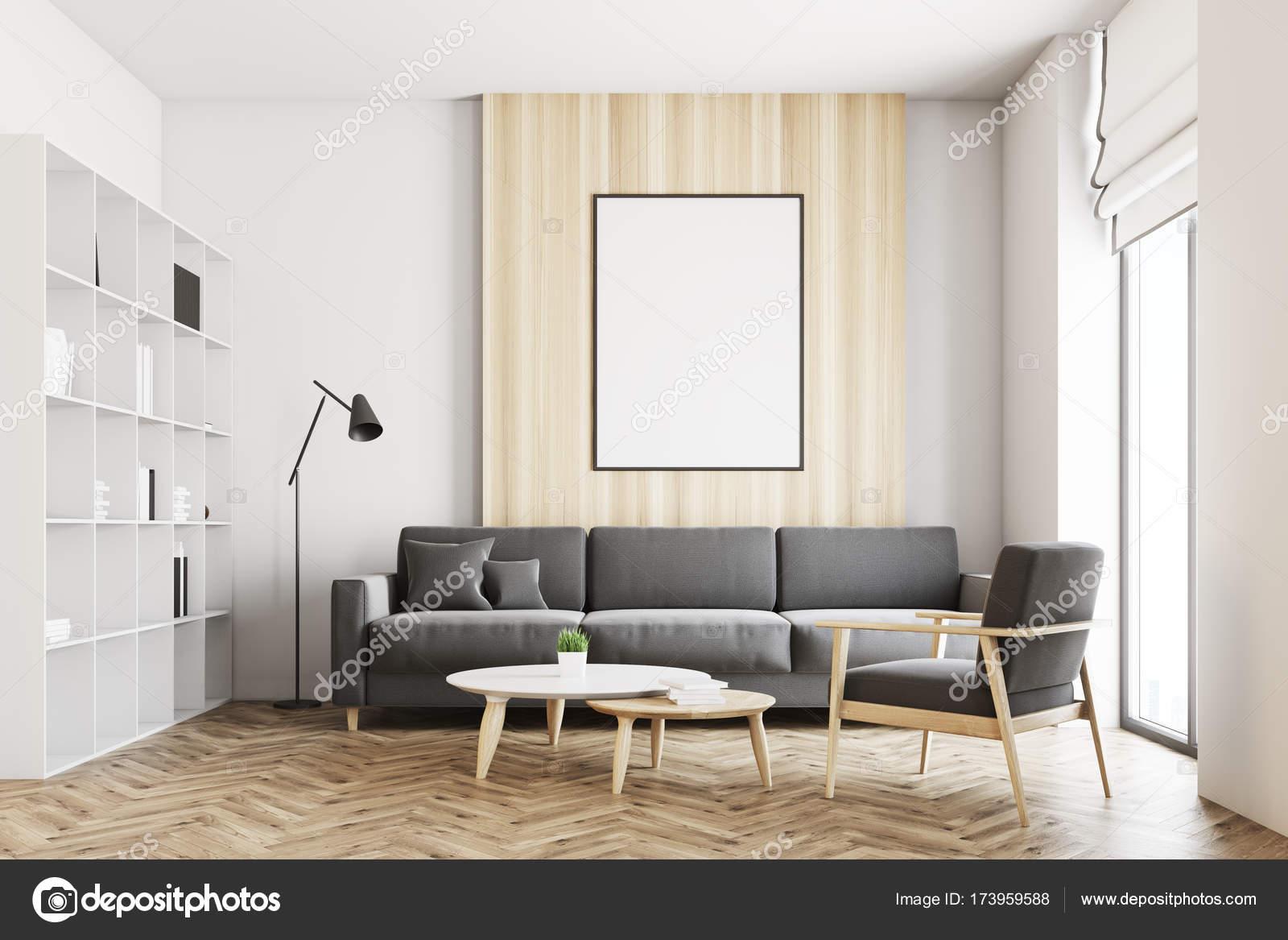 Salón loft blanco y madera, cartel — Foto de stock © denisismagilov ...
