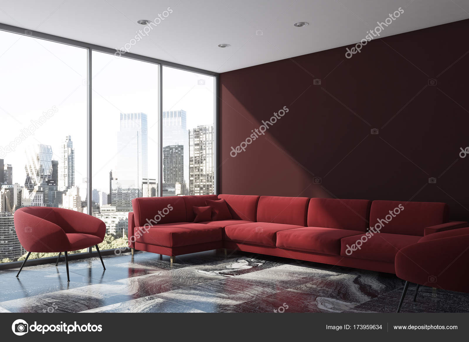 Lila Wohnzimmer, lila wohnzimmer ecke, rotes sofa, sessel — stockfoto, Design ideen