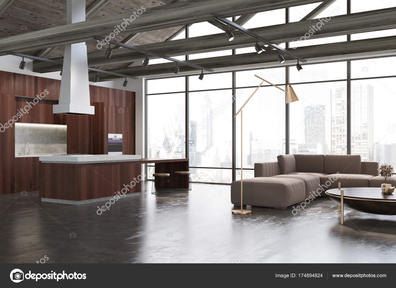 Weiß Und Holz Wohnzimmer, Beige Sofa U2014 Stockfoto