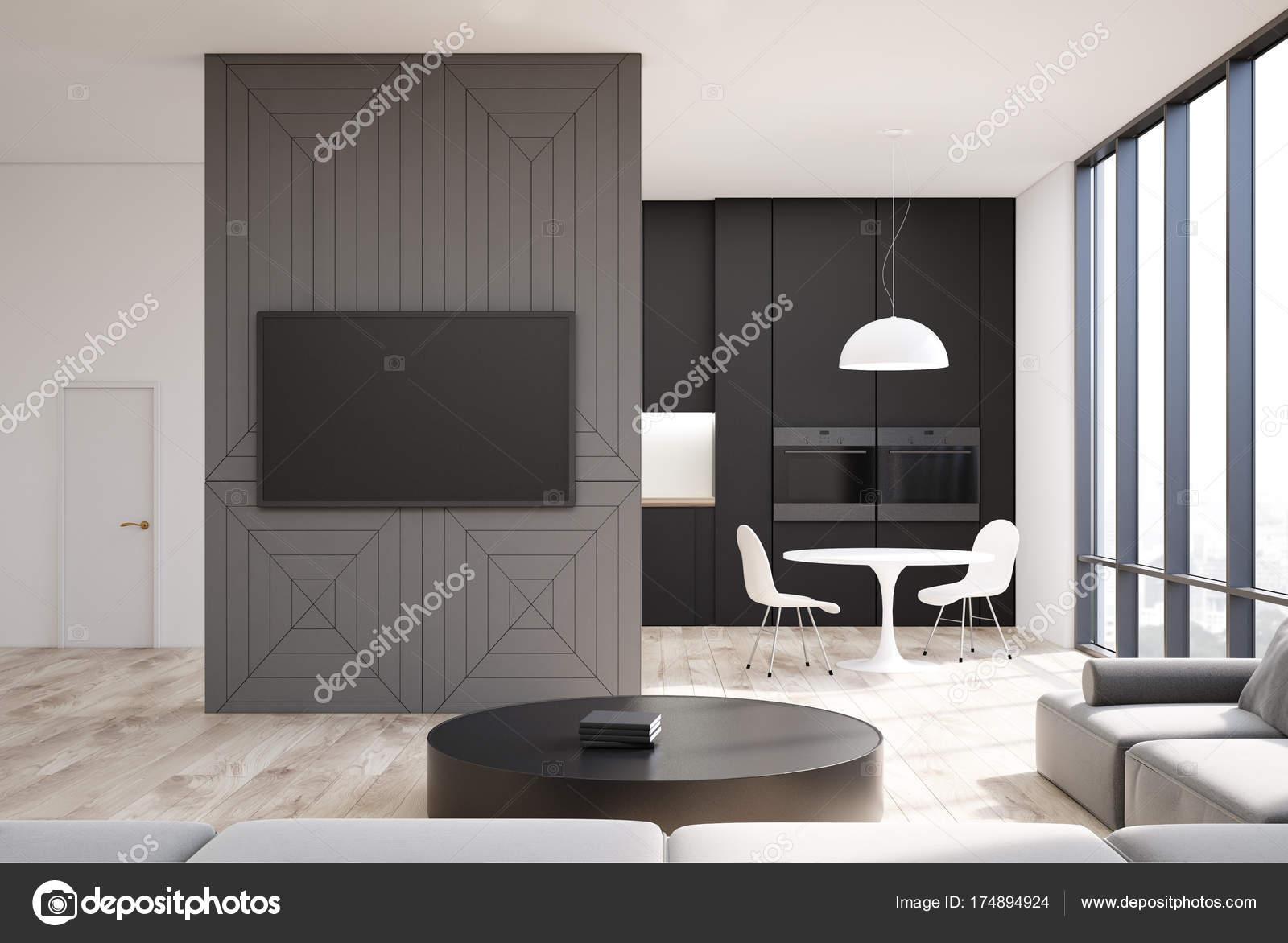 Graue Wohnzimmer Interieur, Farb-tv, Küche — Stockfoto ...