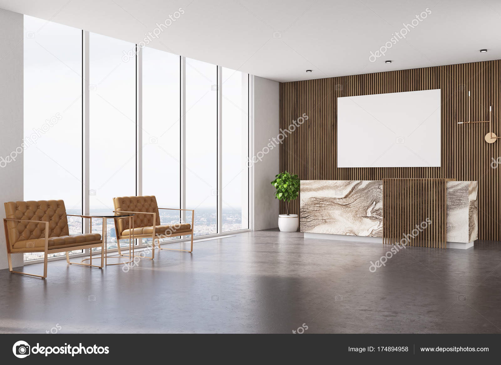 Wooden Reception, Armchairs And Poster U2014 Stock Photo