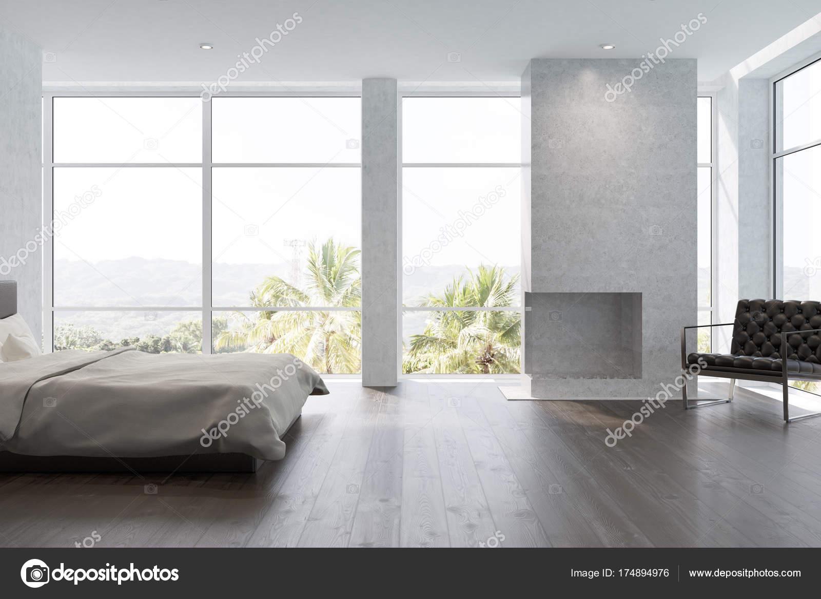 Camera da letto bianca con un camino — Foto Stock © denisismagilov ...