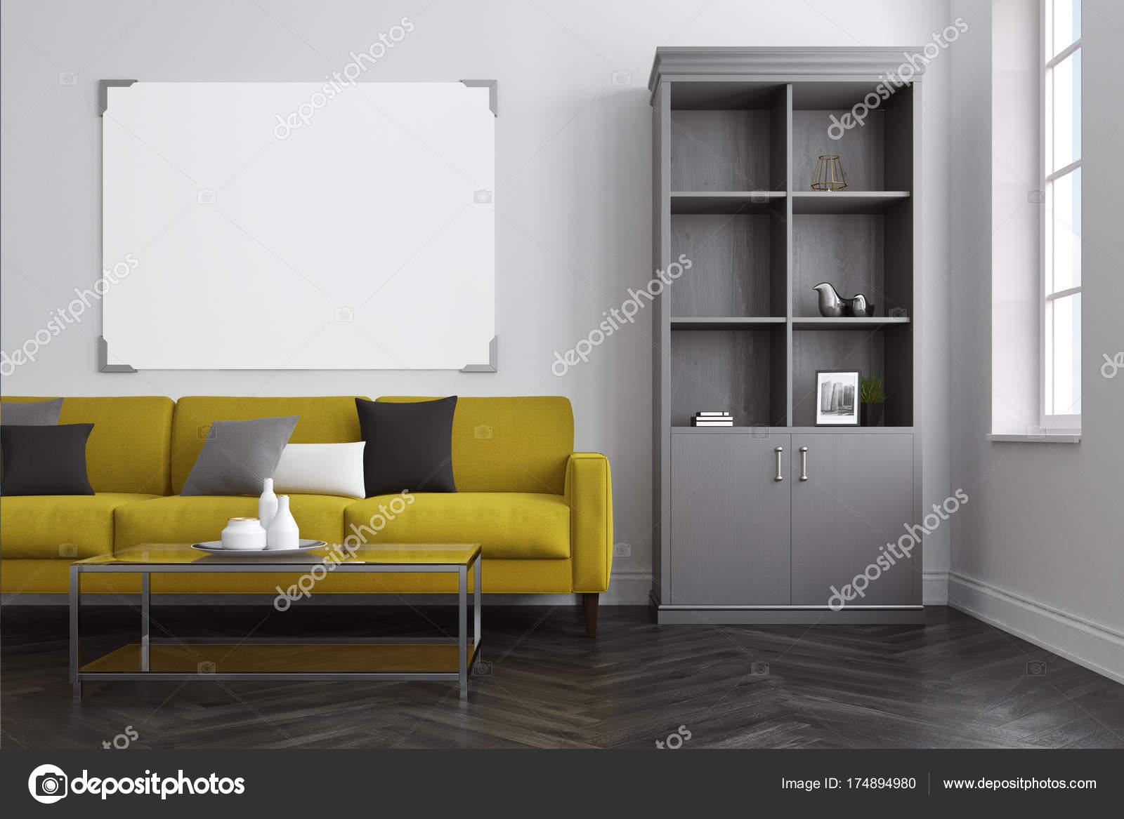 Wit woonkamer, gele Bank, boekenkast — Stockfoto © denisismagilov ...
