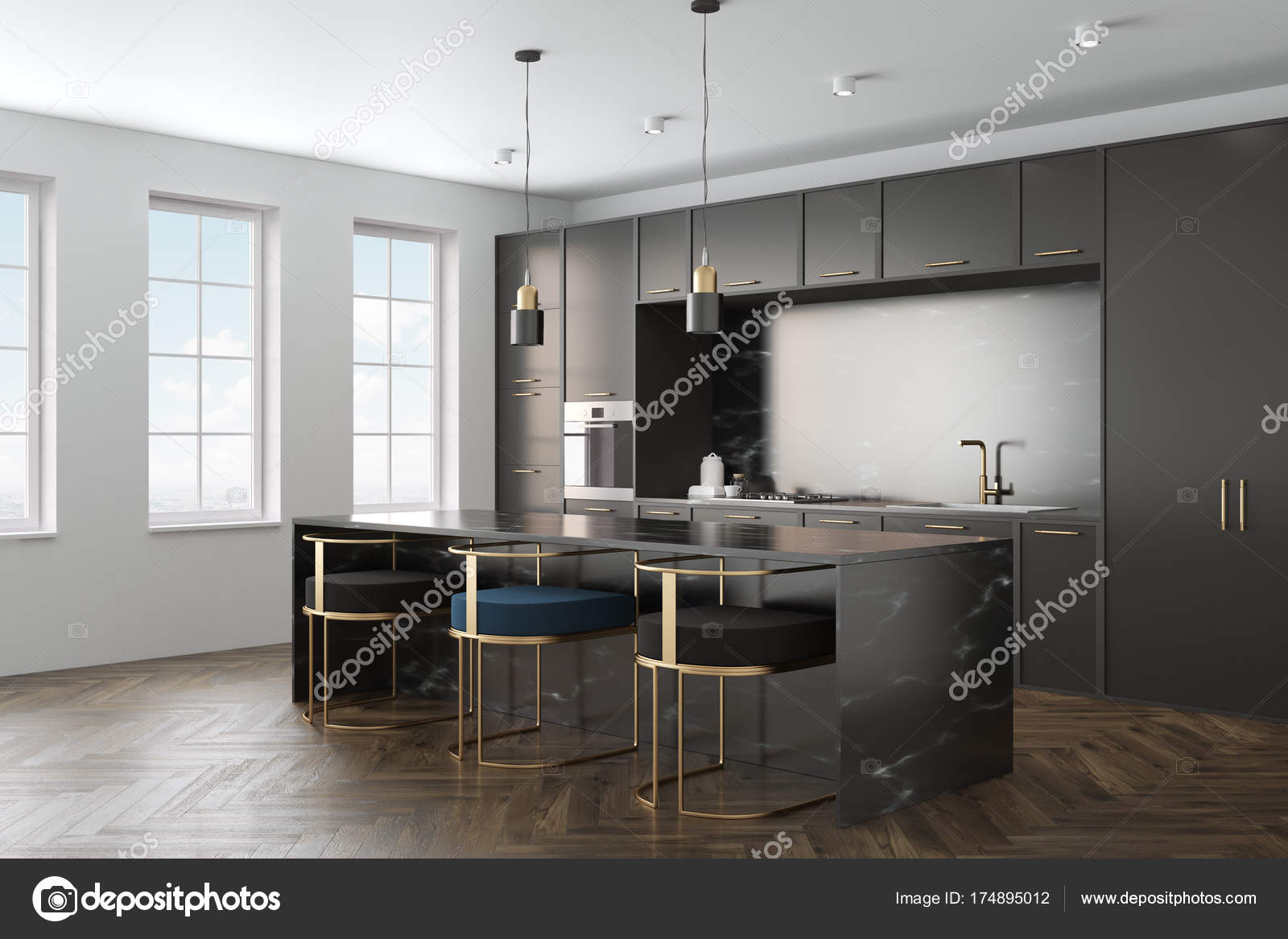 Marmer Zwart Keuken : De binnenkant zwart marmeren keuken u stockfoto denisismagilov