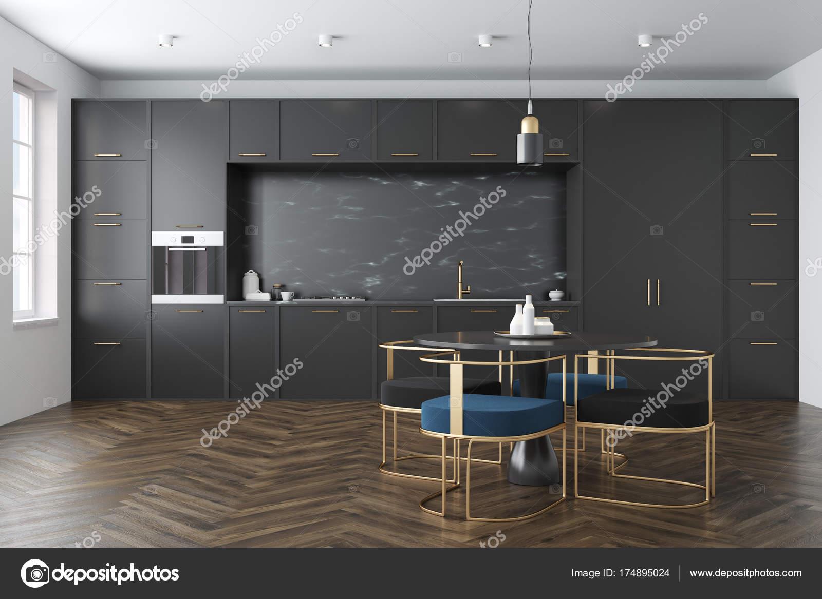 Schwarze Küche, runder Tisch — Stockfoto © denisismagilov #174895024