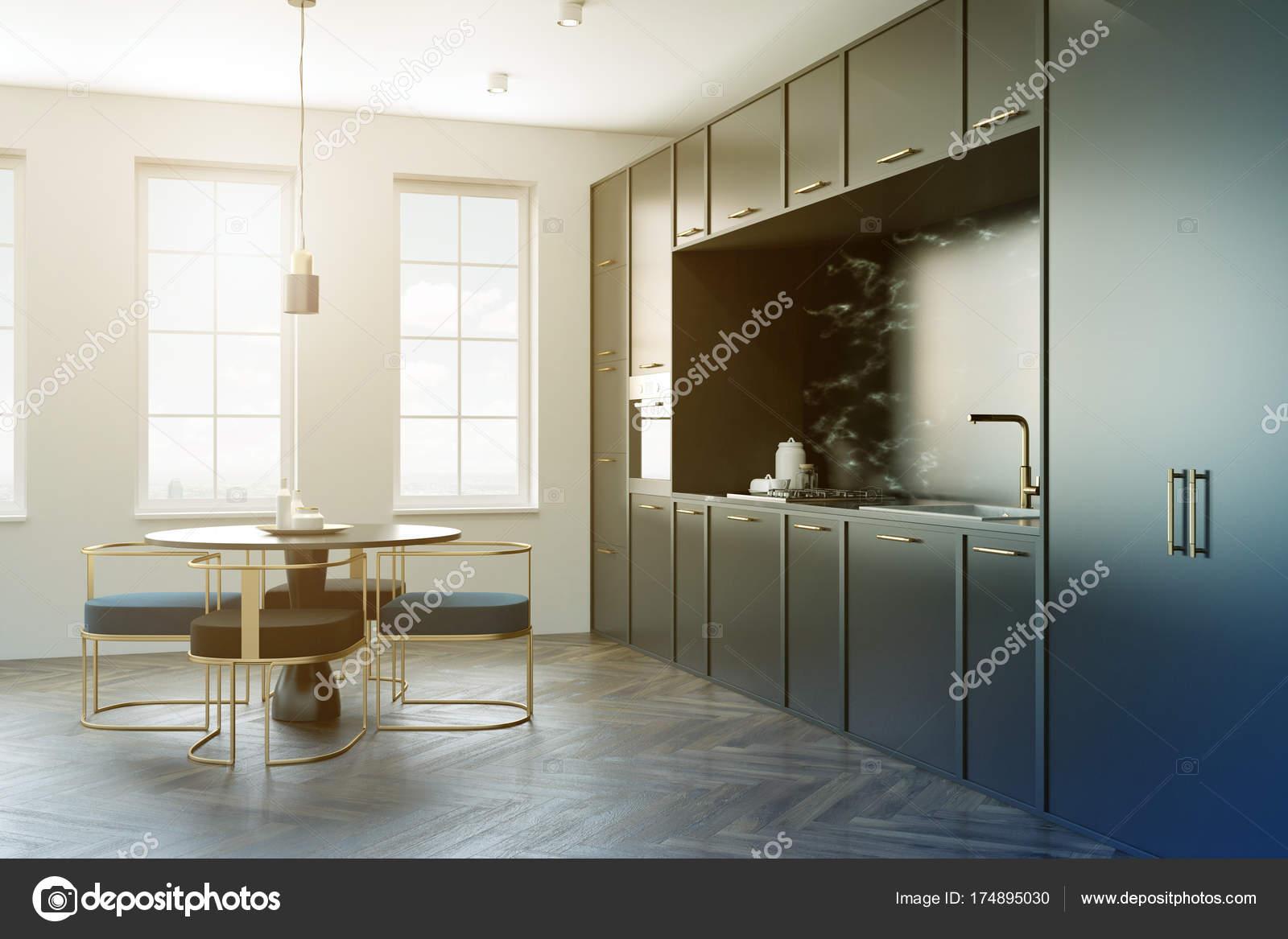 Cozinha Em M Rmore Preta Mesa Redonda Em Tons Stock Photo