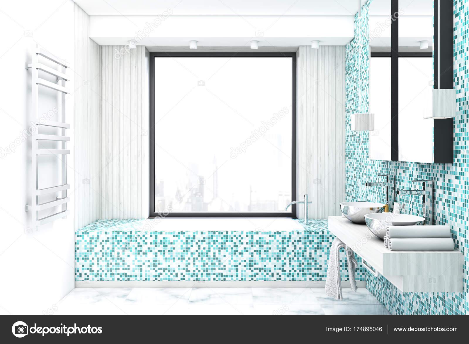 Blaue Fliesen Badezimmer Interieur Stockfoto Denisismagilov