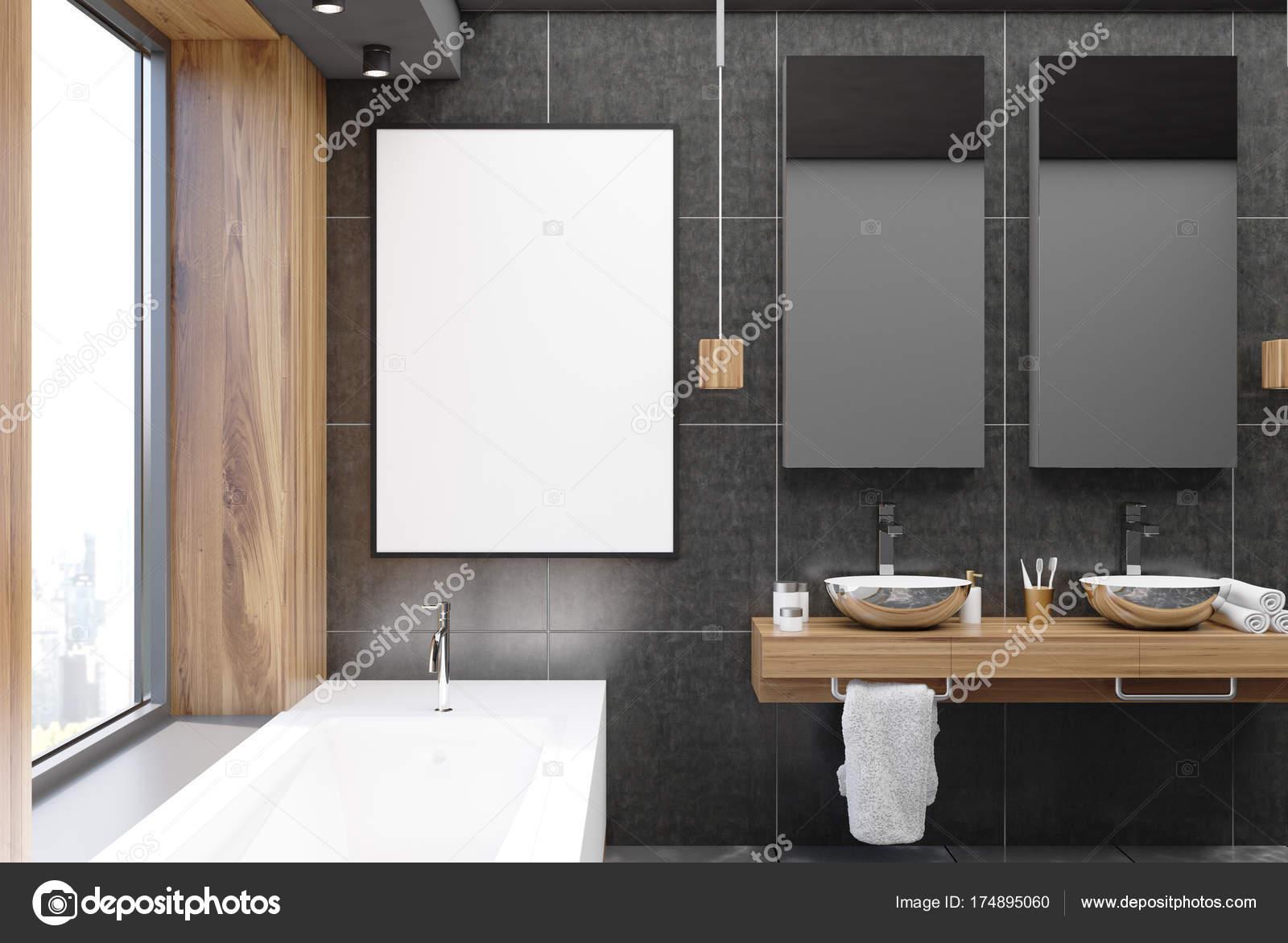 Bagno Legno E Grigio : Bagno nero e legno poster u2014 foto stock © denisismagilov #174895060