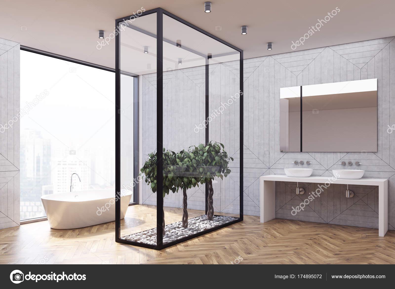 Drewno Po Stronie Betonu łazienka Zdjęcie Stockowe