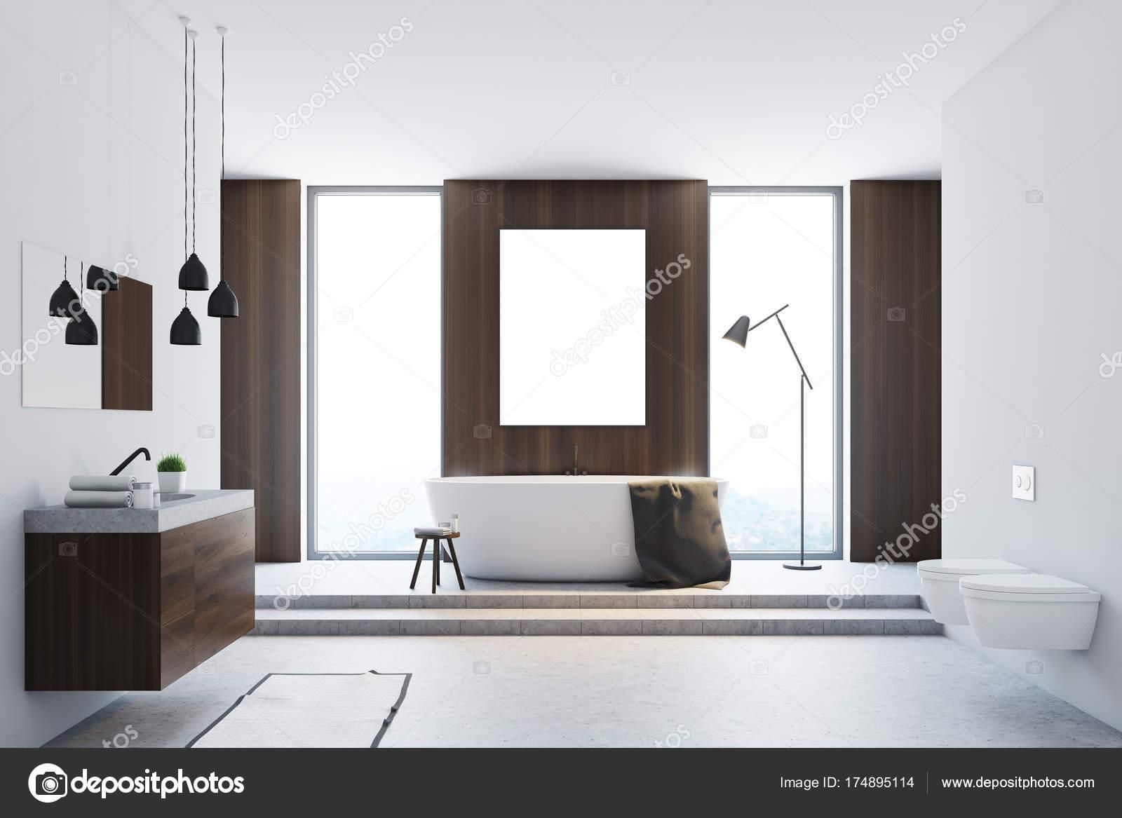 Baño blanco y madera madera, cartel — Fotos de Stock ...