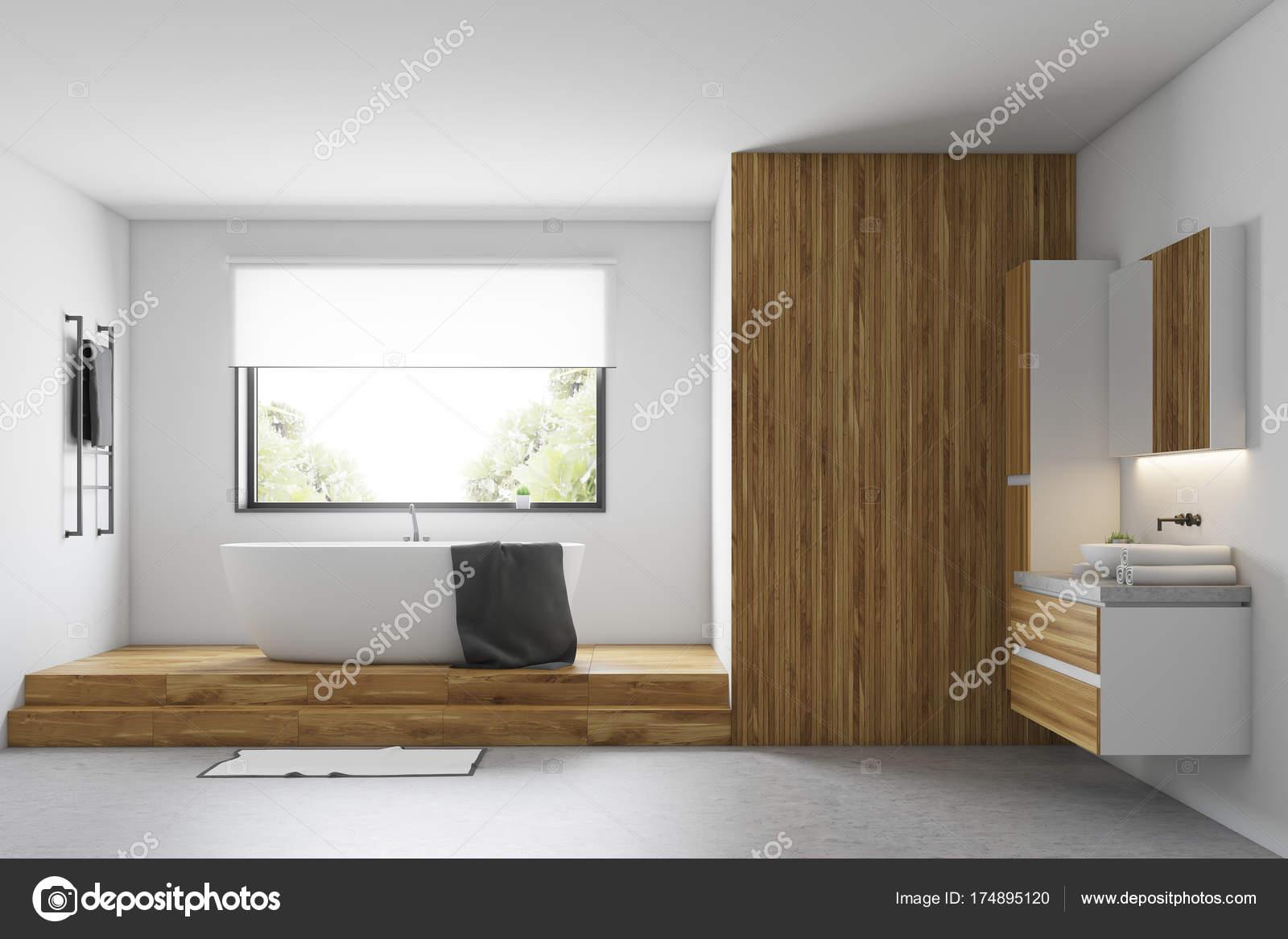 Weiß und Holz Bad — Stockfoto © denisismagilov #174895120