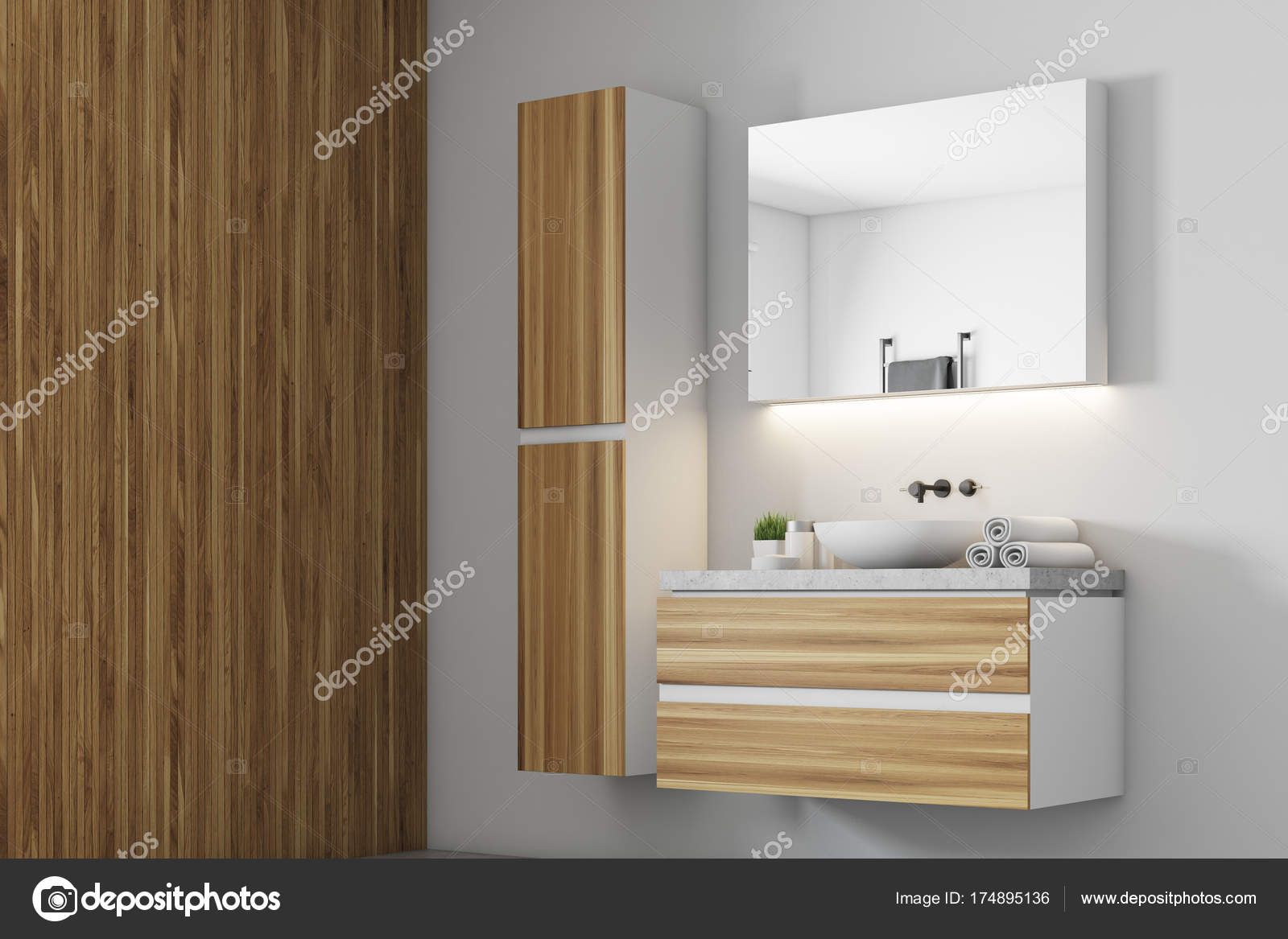 Bagno bianco, lato decorazione lavandino in legno — Foto Stock ...