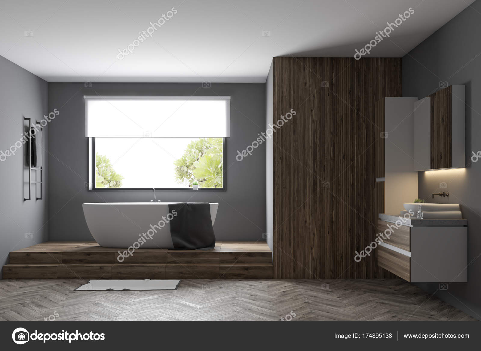 Intérieur de la salle de bains moderne gris — Photographie ...