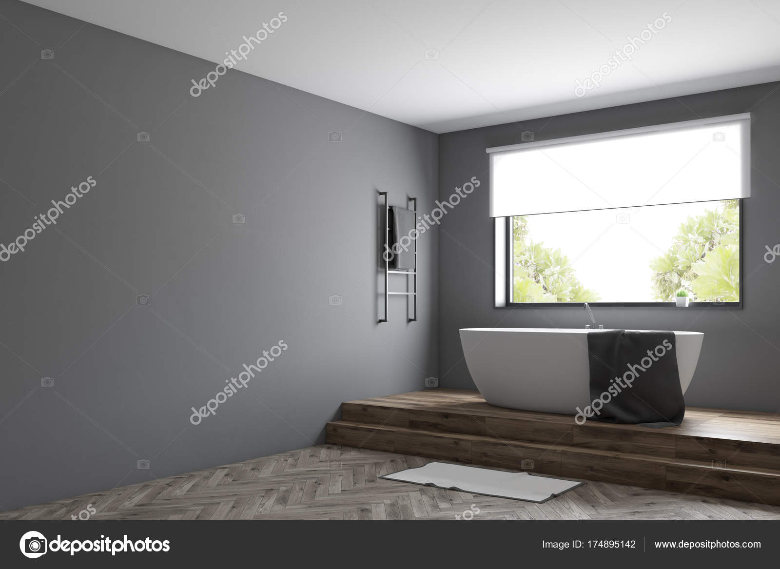 Moderne grijze badkamer hoek u stockfoto denisismagilov