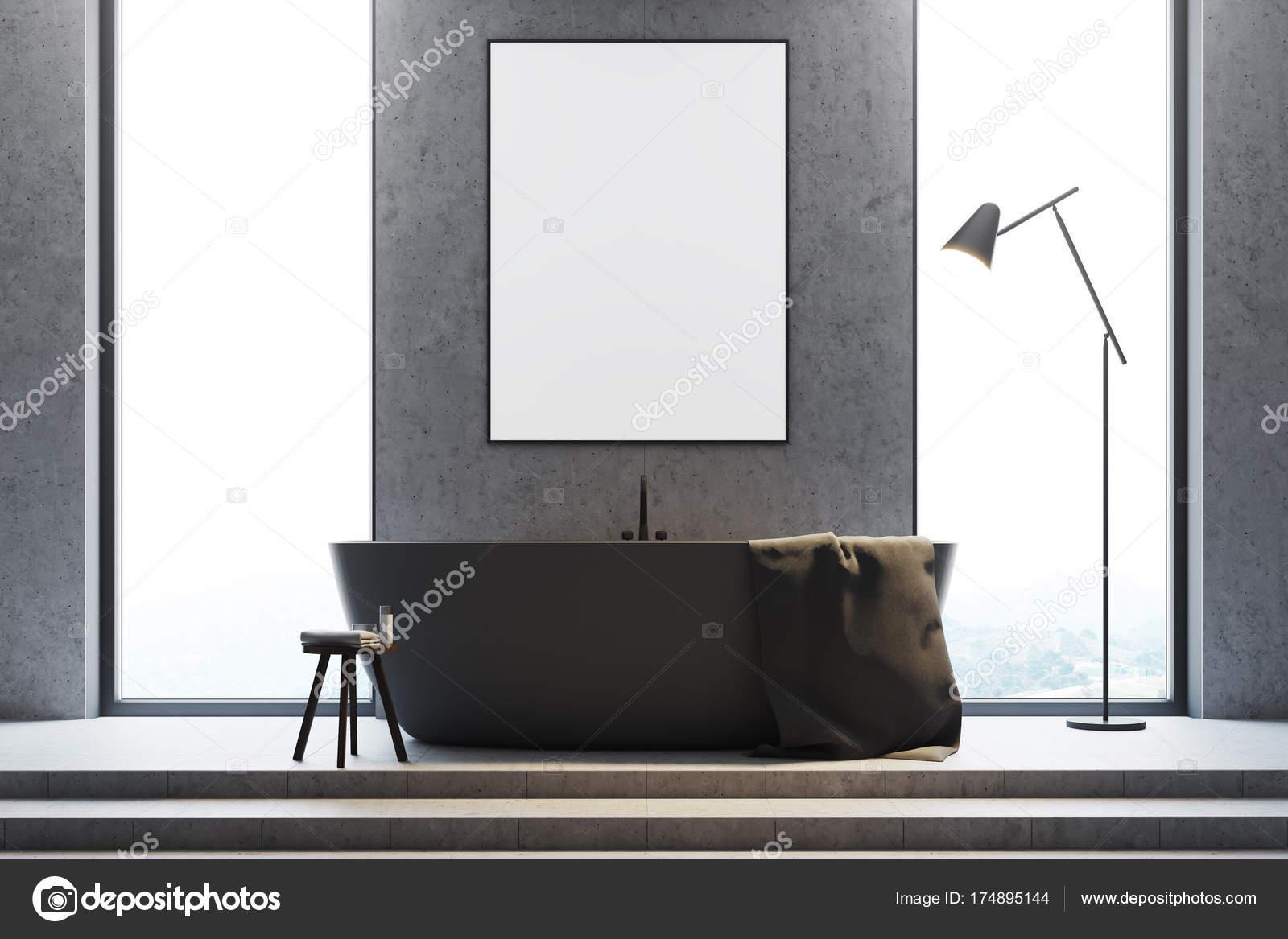 Graue Badezimmer Interieur Nahaufnahme, Plakat — Stockfoto ...
